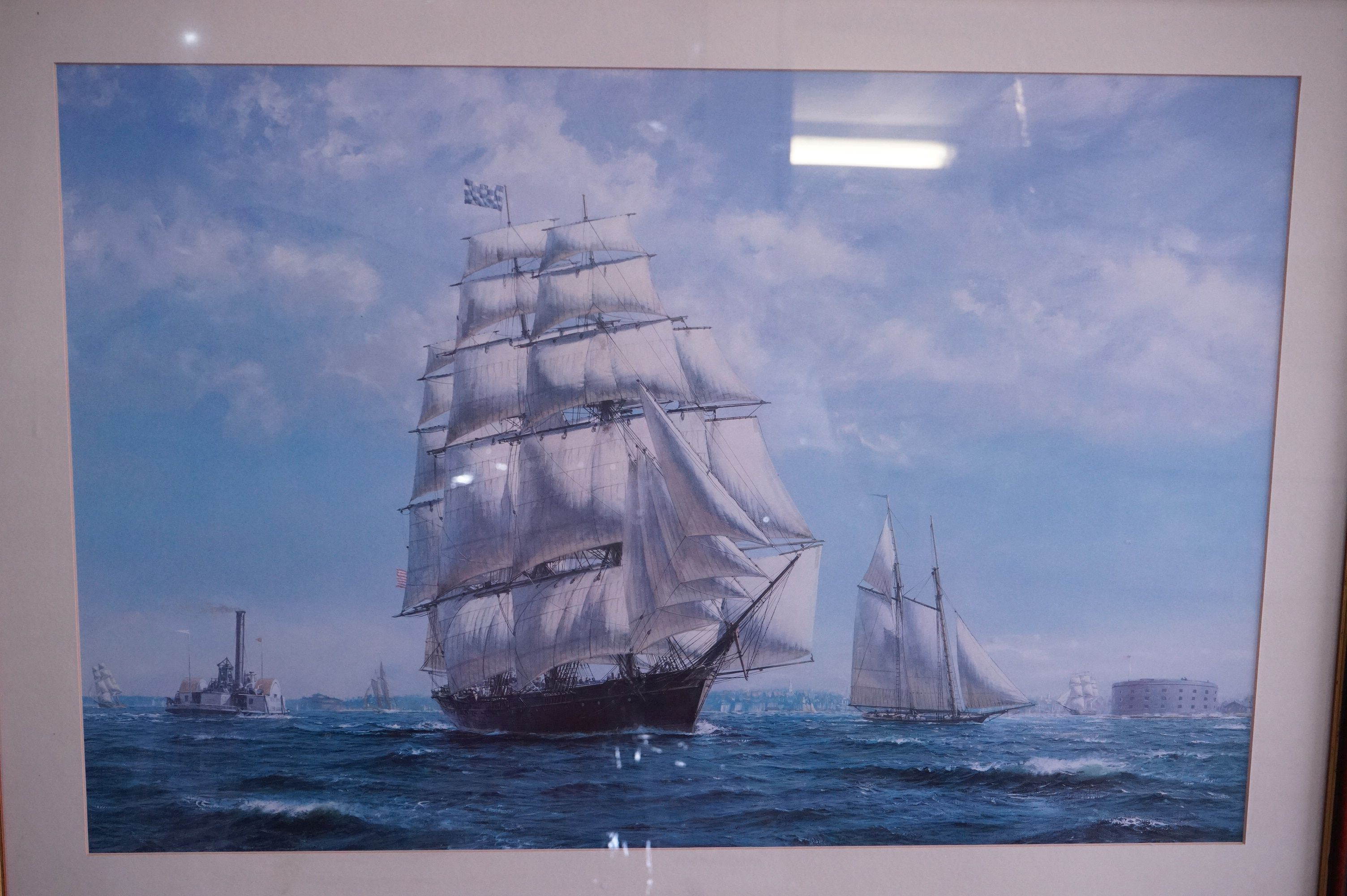 Four Large Framed and Glazed Sailing Ship Prints including Roger Desoutter ' Hove -to off the - Image 4 of 11