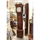 19th century Oak Longcase Clock, the painted face with Arabic and Roman Numerals, Date Aperture
