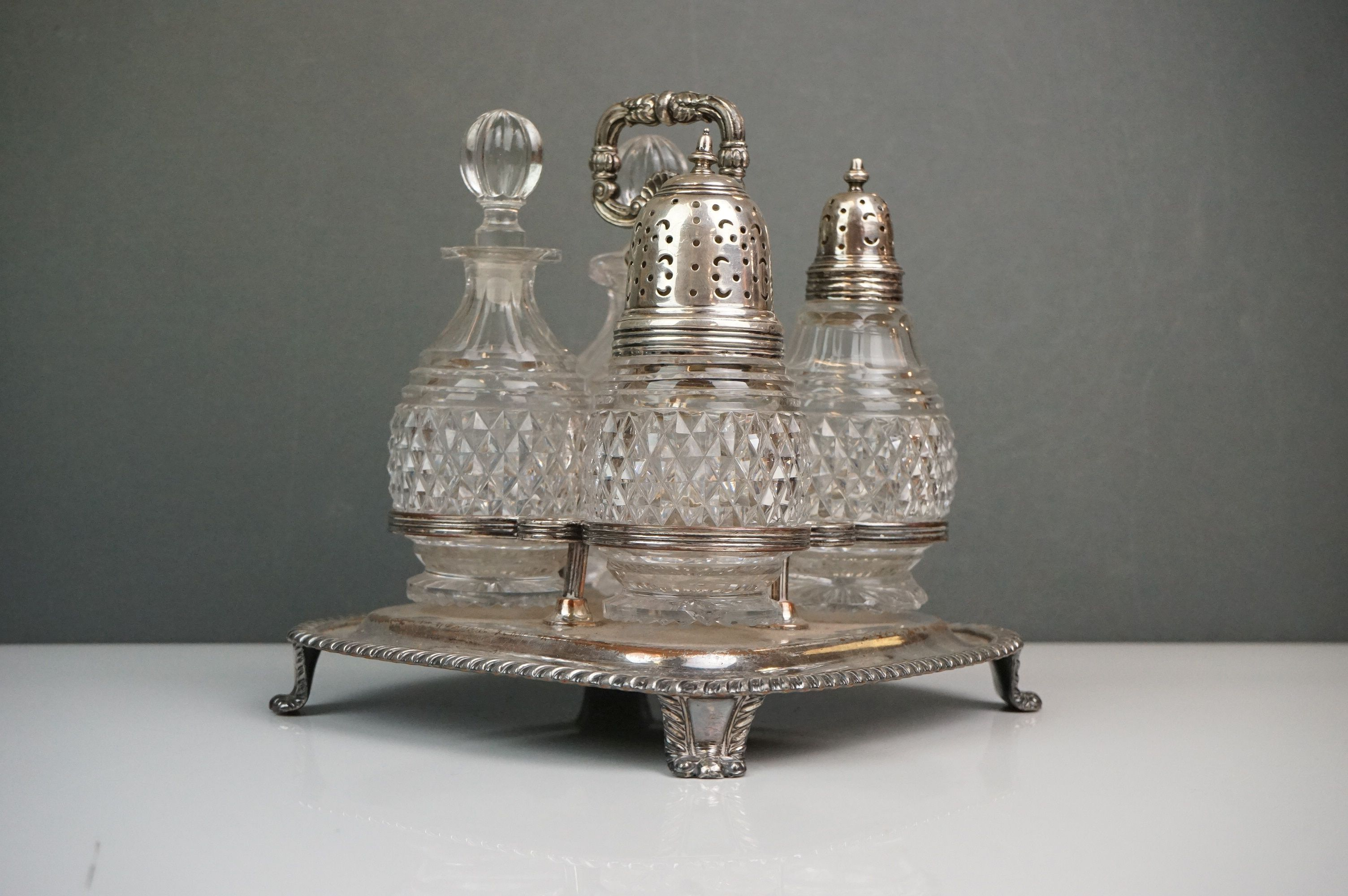 Silver plate - a Victorian four bottle cruet with cut glass bottles, WMF bowl with raised scroll - Image 5 of 6