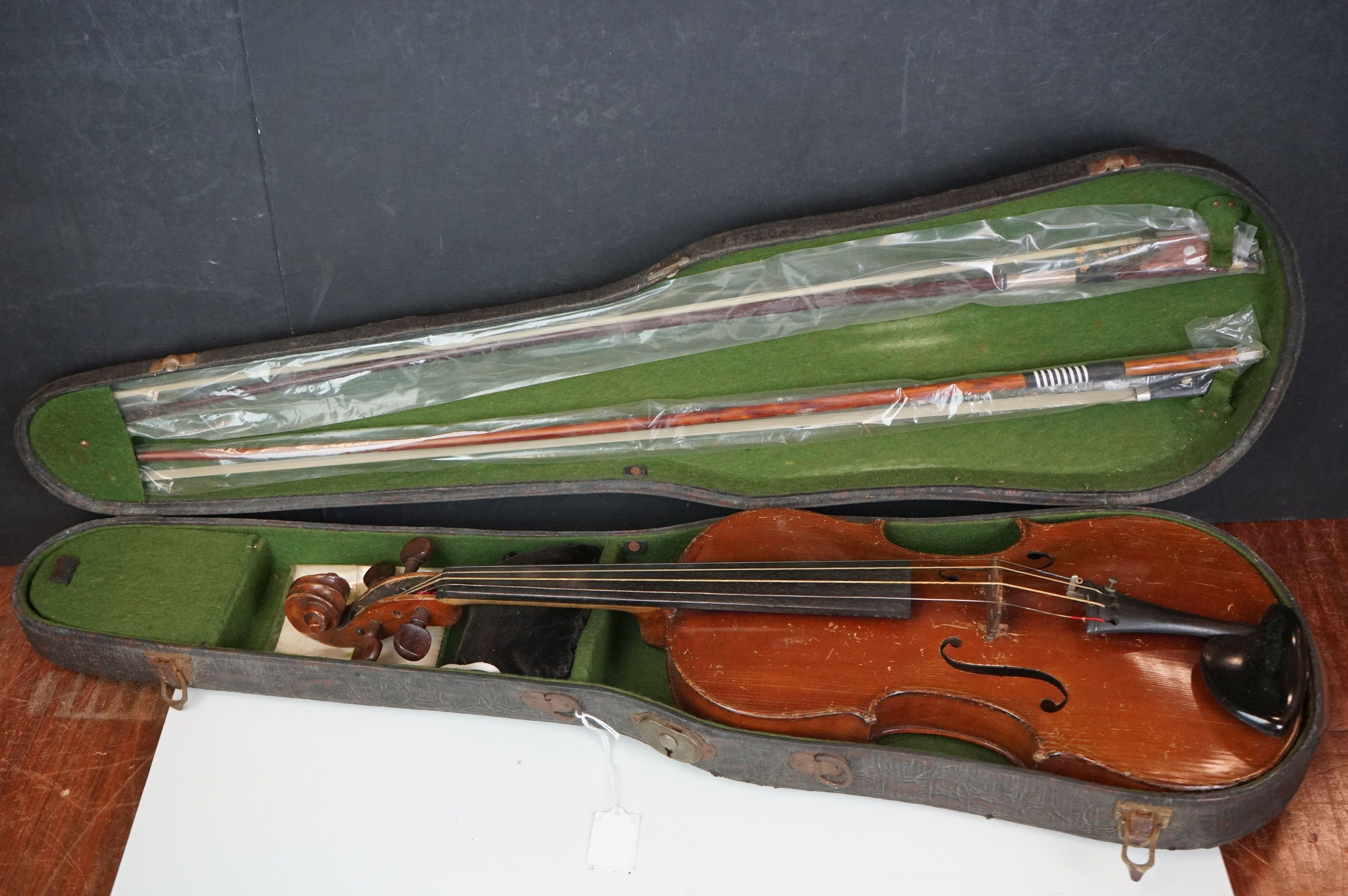 Violin with Two Bows in a Vintage Snakeskin effect case