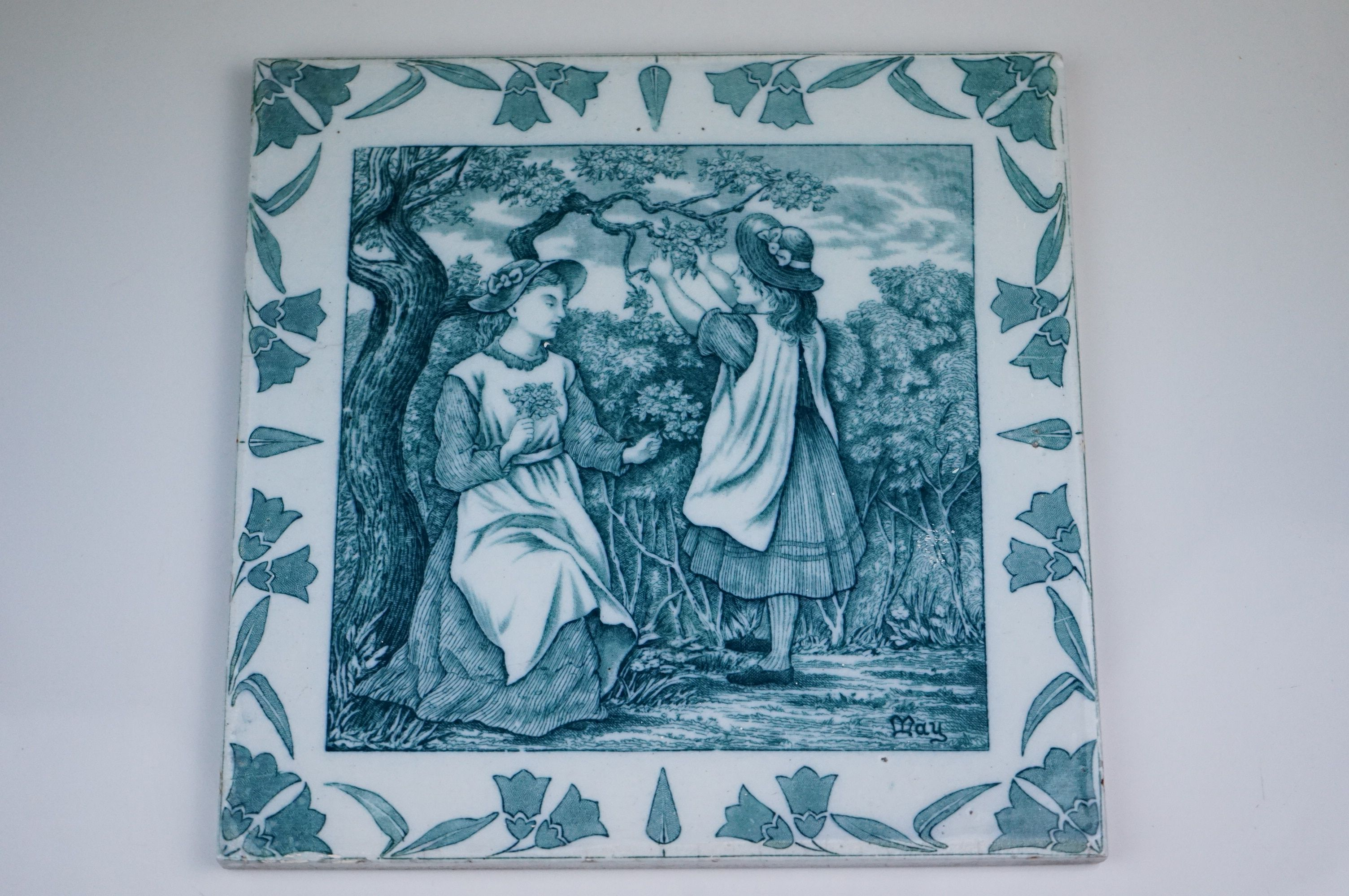 """Three Wedgwood Etruria 8"""" Old English tiles, May, August & January - Image 4 of 6"""