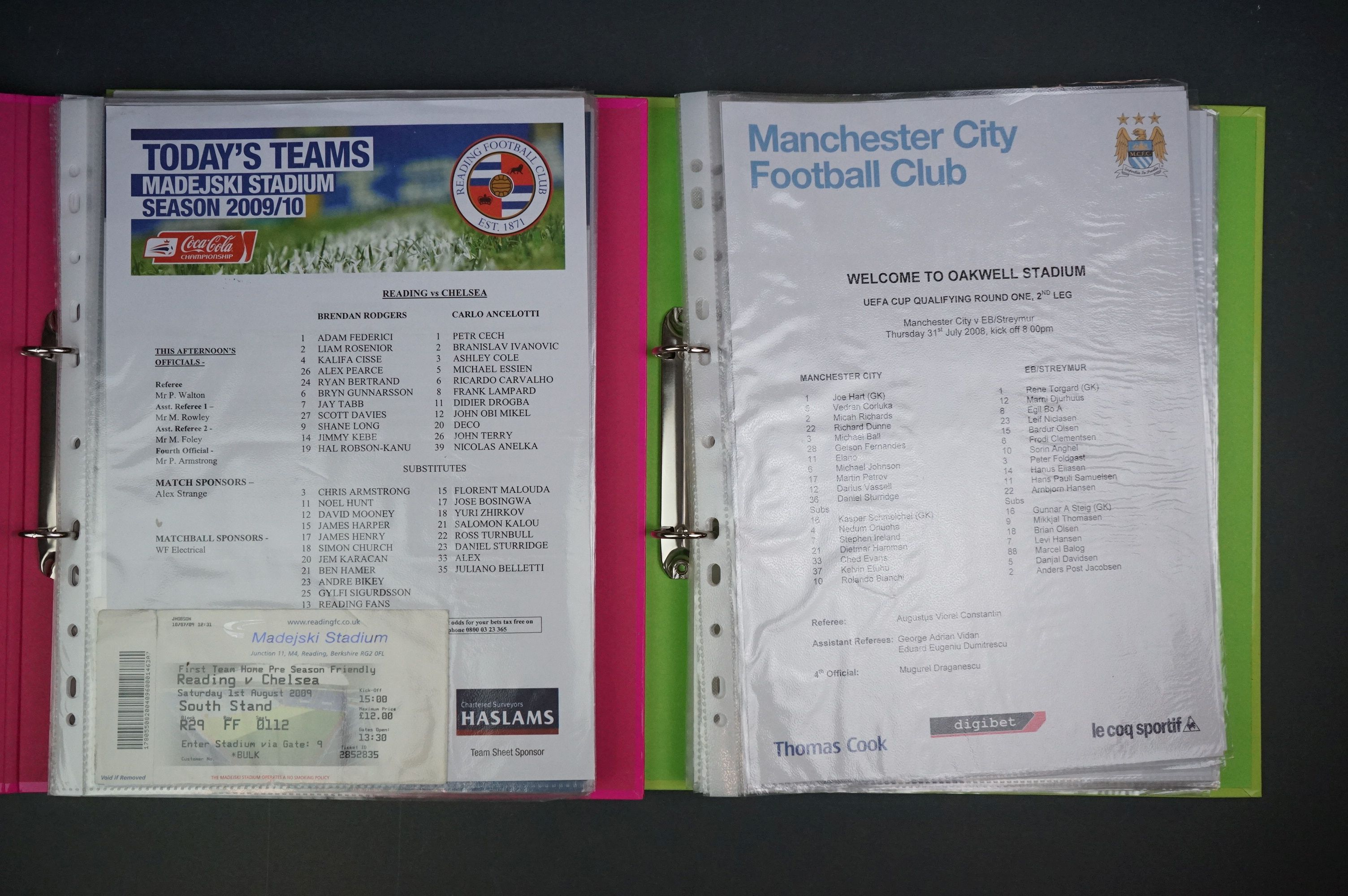 Football - Two binders containing a collection of home and away teamsheets, tickets etc for
