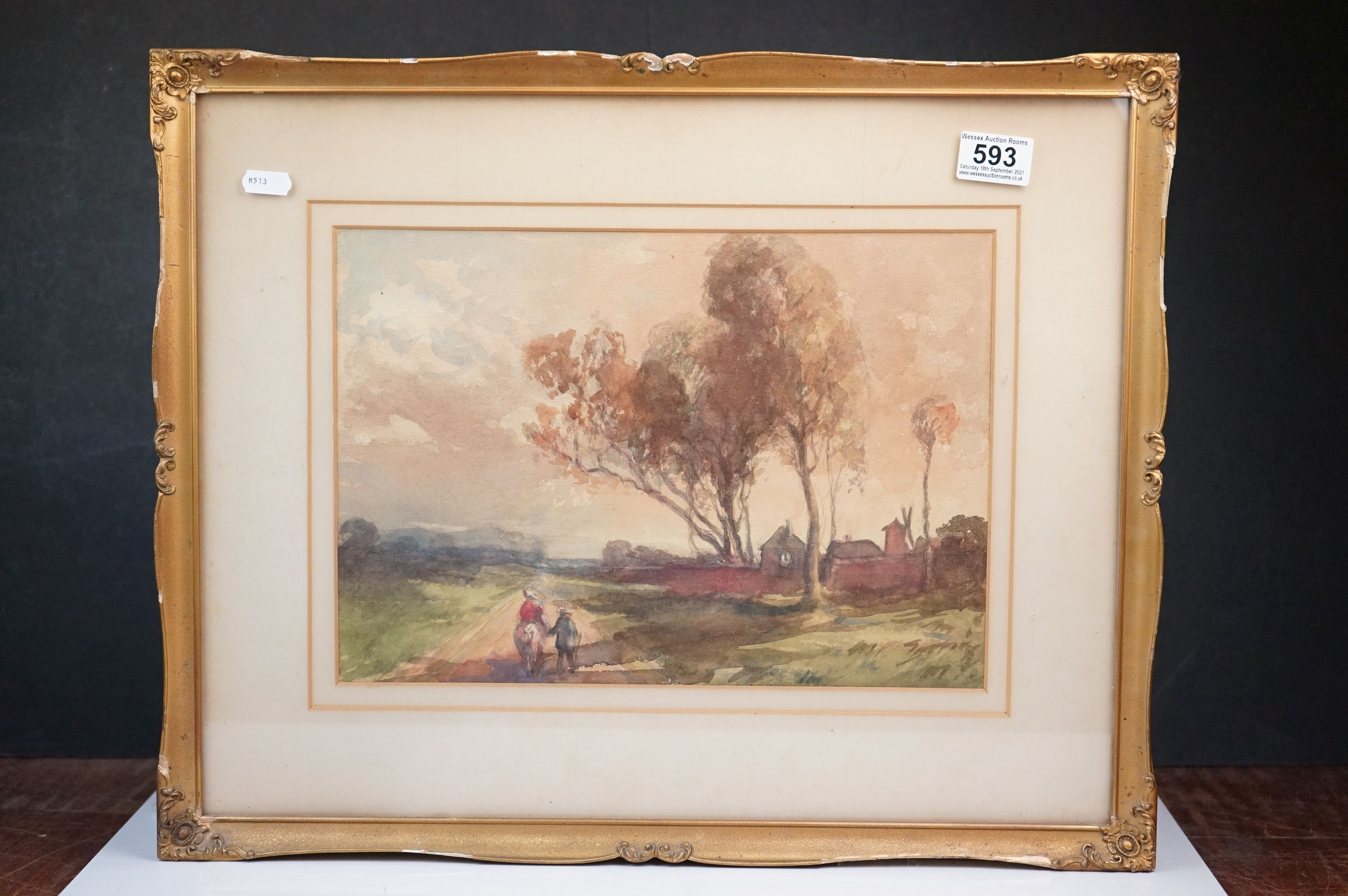 Late 19th / Early 20th century Watercolour titled ' Peasants returning home at eventide ', 34cms x