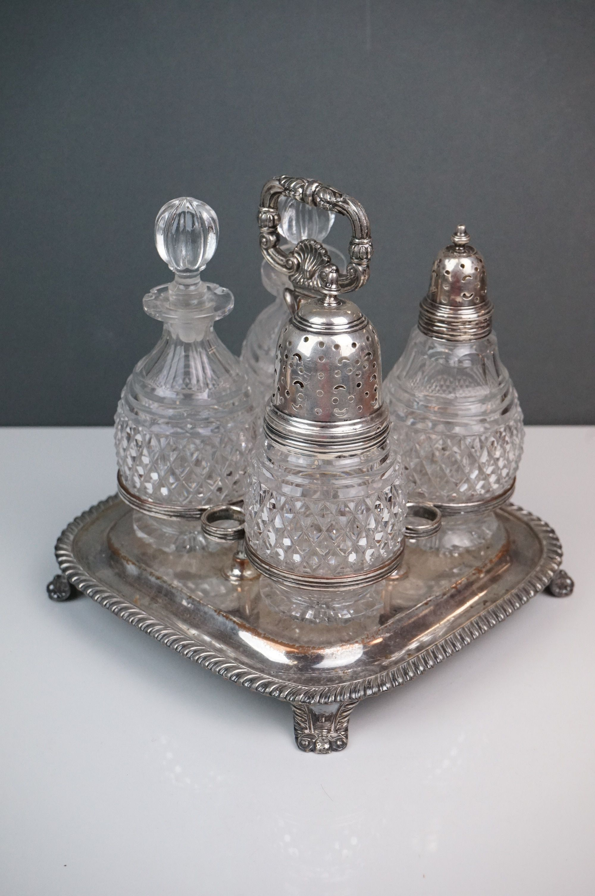 Silver plate - a Victorian four bottle cruet with cut glass bottles, WMF bowl with raised scroll - Image 4 of 6