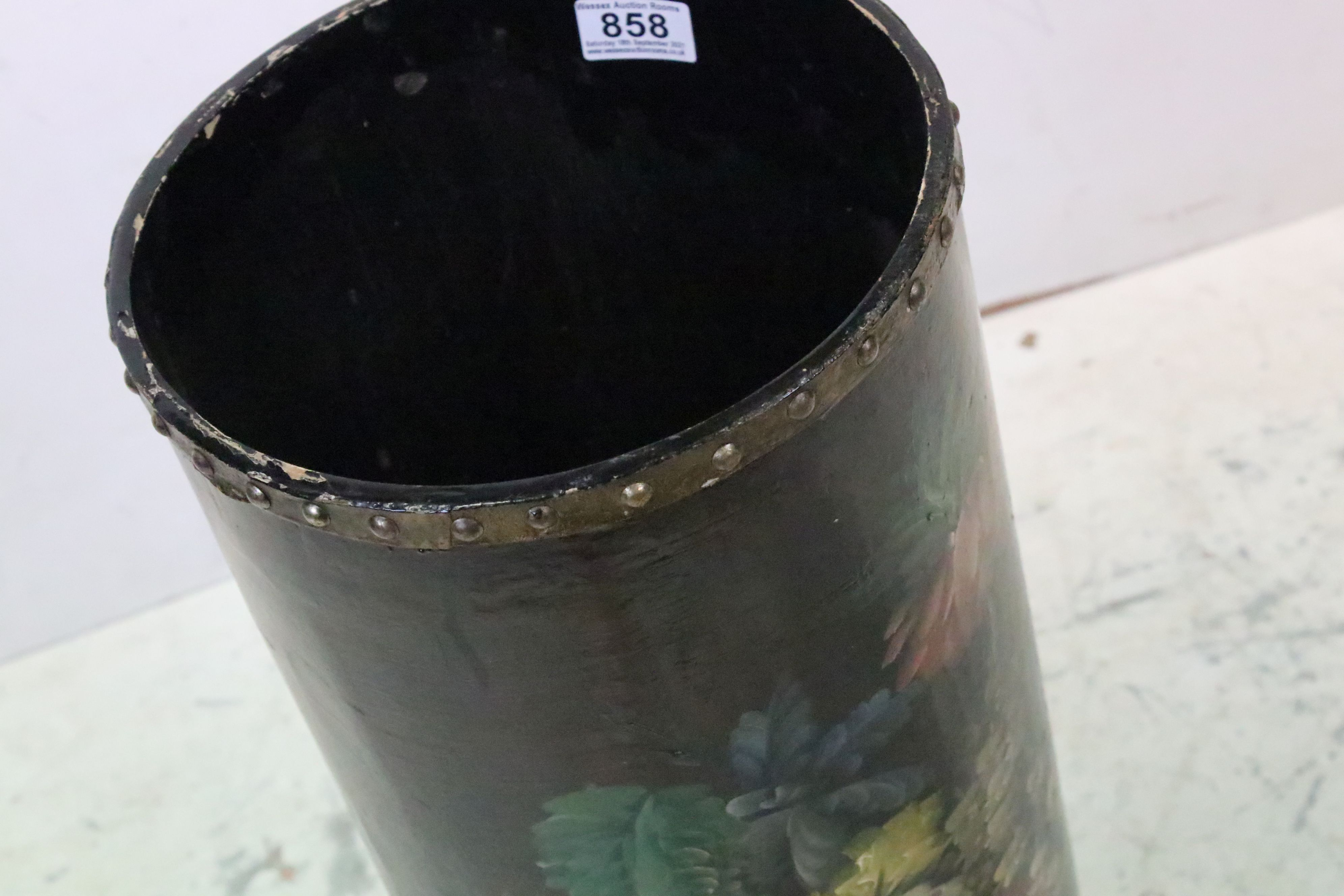 Lacquered and Floral Painted Circular Stick / Umbrella Stand, 61cms high - Image 2 of 4