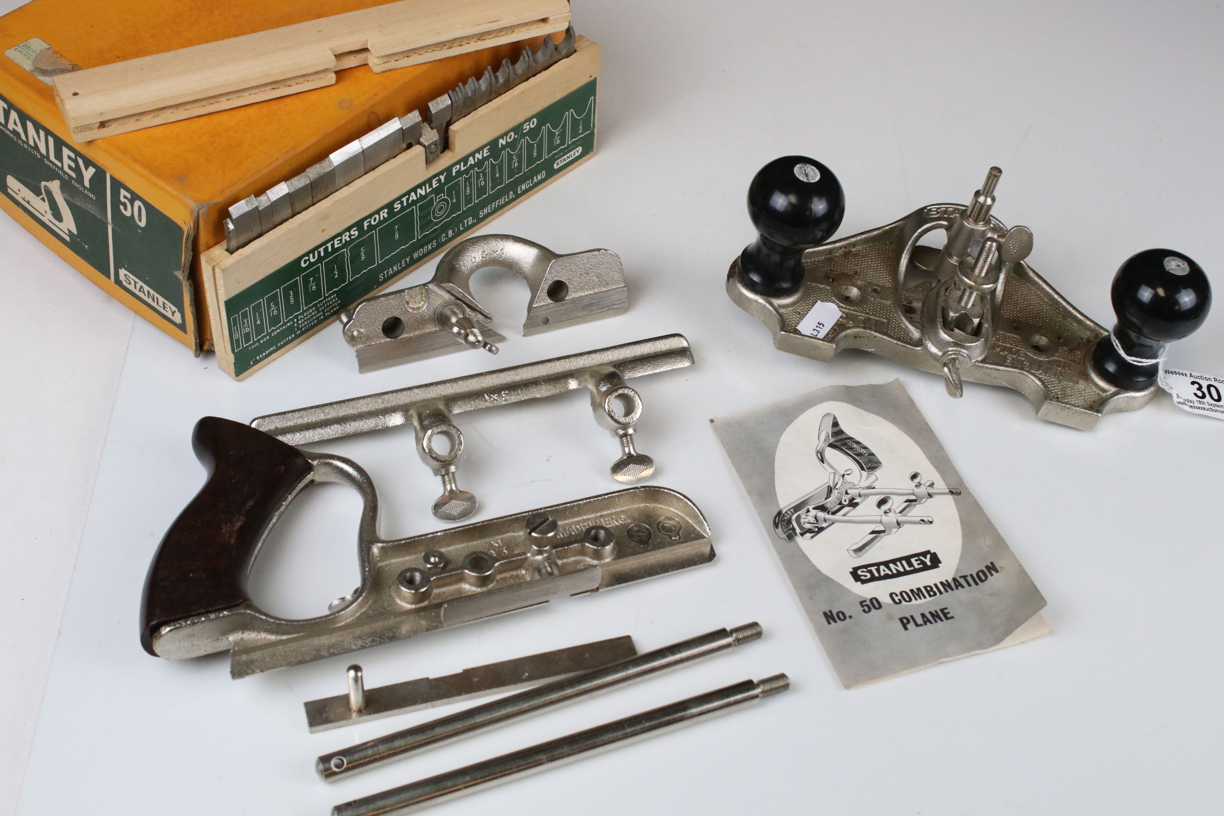Boxed Stanley No. 50 Combination Plane together with a Stanley No. 71 Router Plane