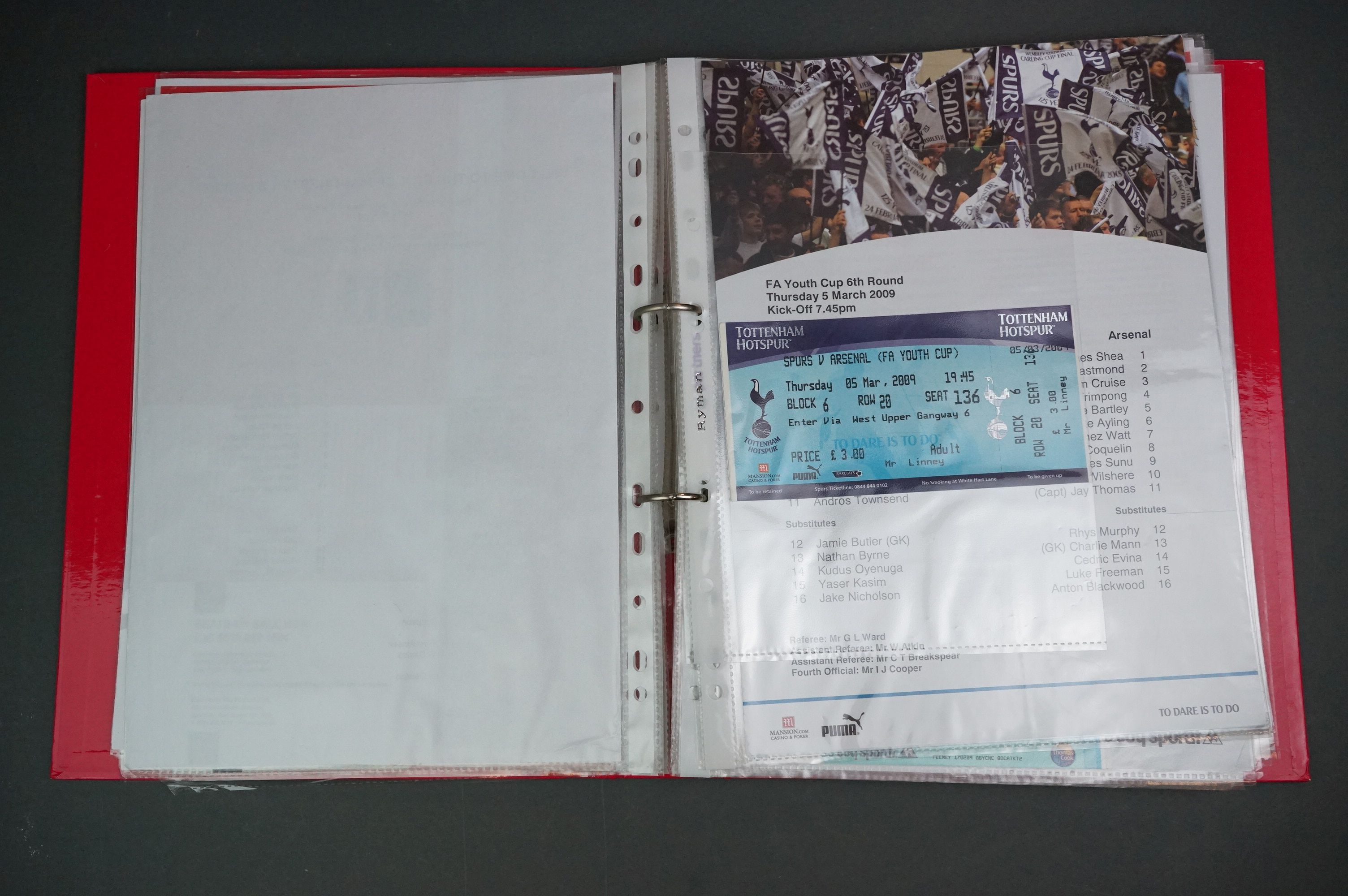 Football - FA Youth Cup 2007-11, a binder containing approx. 45 programmes, mostly single sheets, - Image 6 of 9
