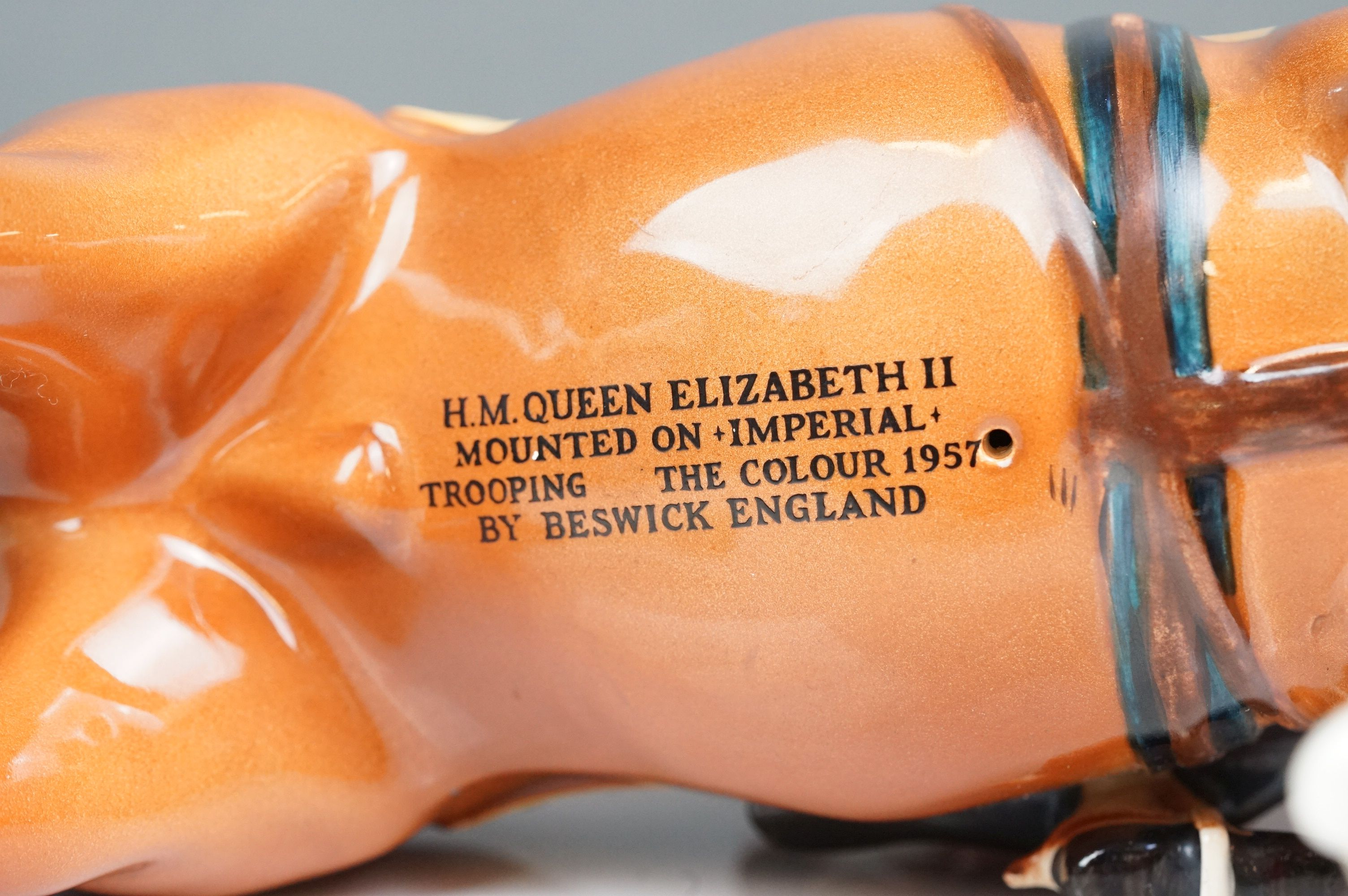 Beswick HM Queen Elizabeth II mounted on Imperial, Trooping the Colour 1957, model no. 1546 H26.5cm - Image 6 of 8