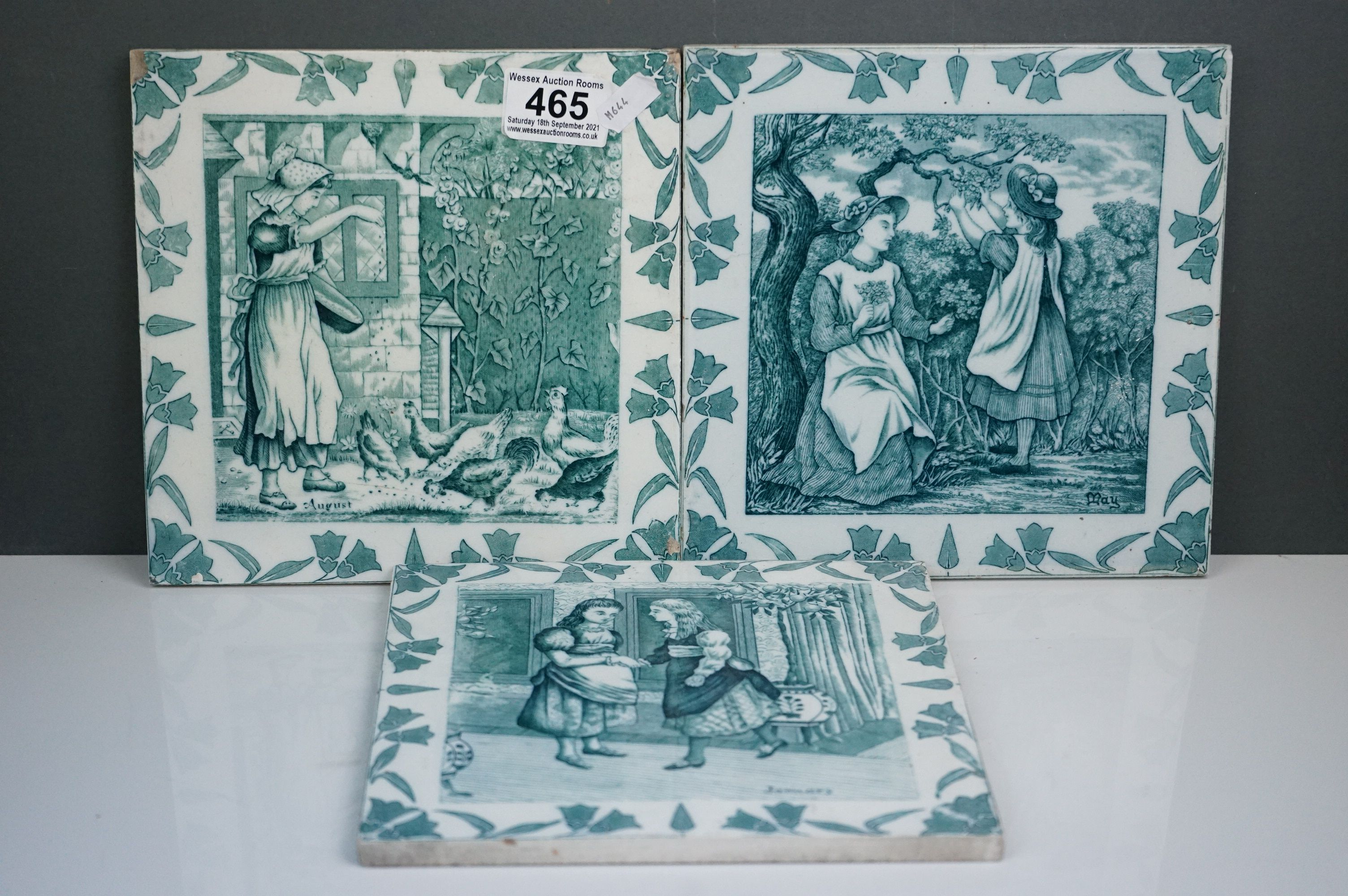 """Three Wedgwood Etruria 8"""" Old English tiles, May, August & January"""
