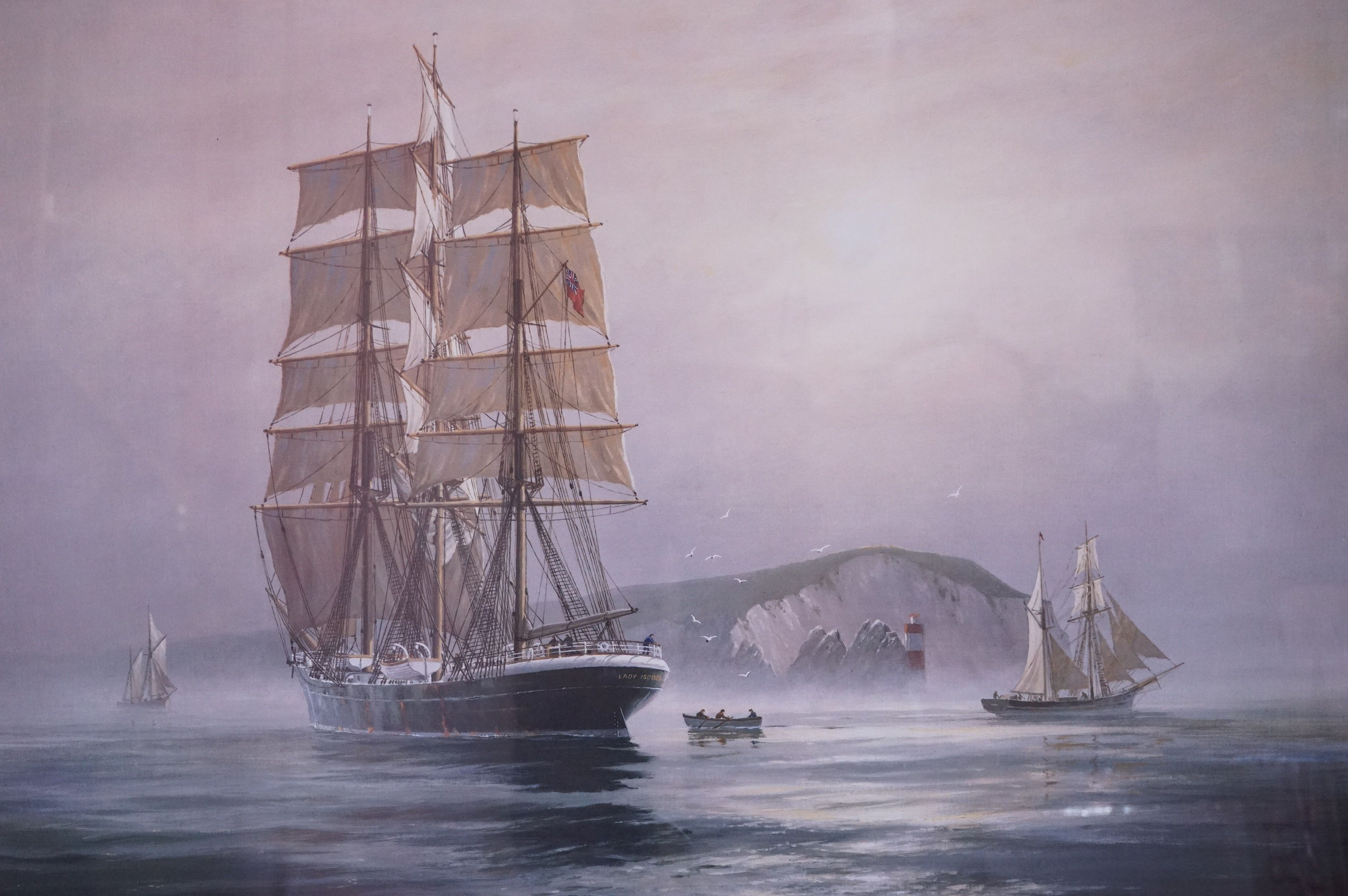 Four Large Framed and Glazed Sailing Ship Prints including Roger Desoutter ' Hove -to off the - Image 2 of 11