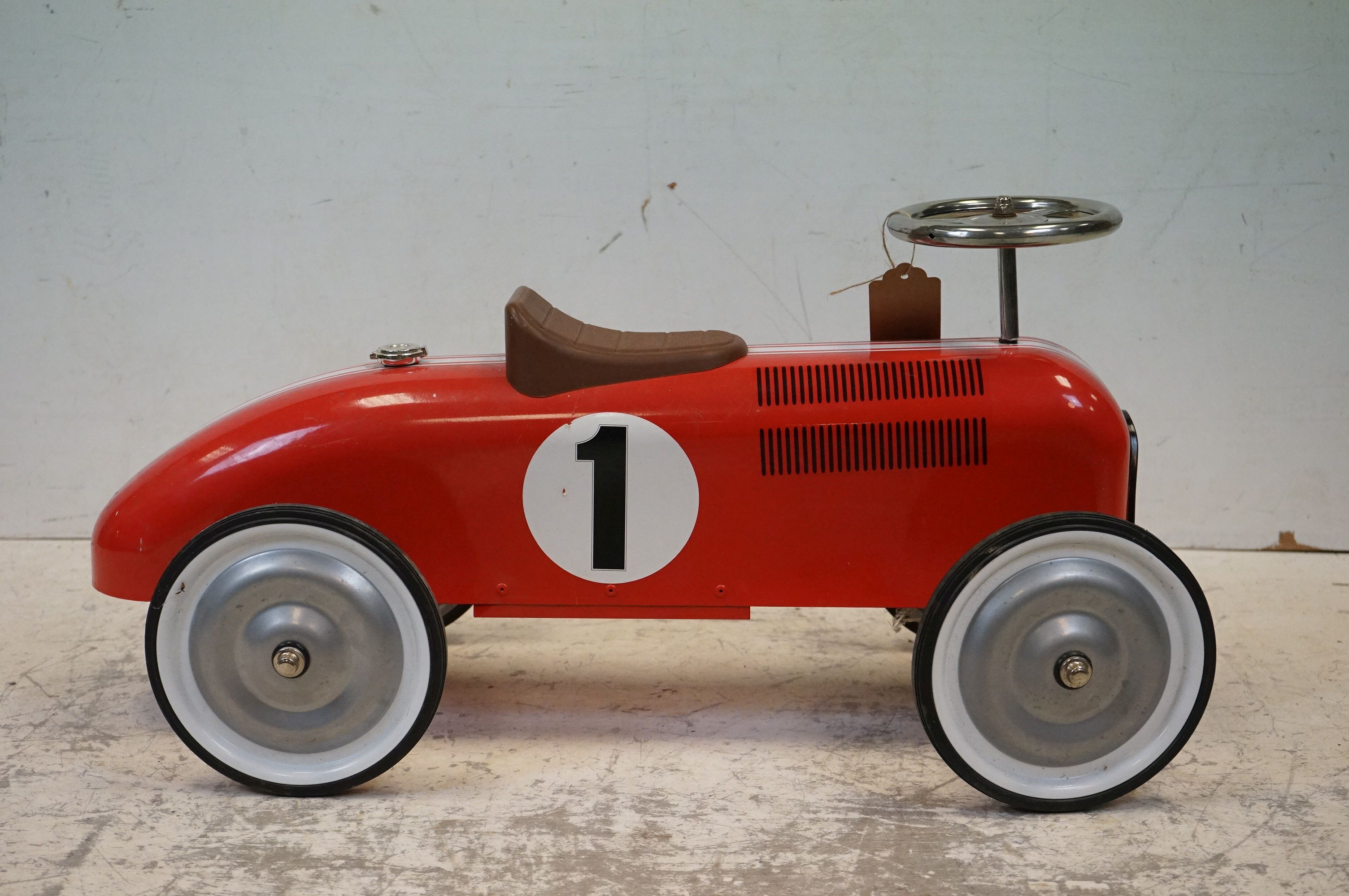 A contemporary metal red Childs racing car. - Image 3 of 5
