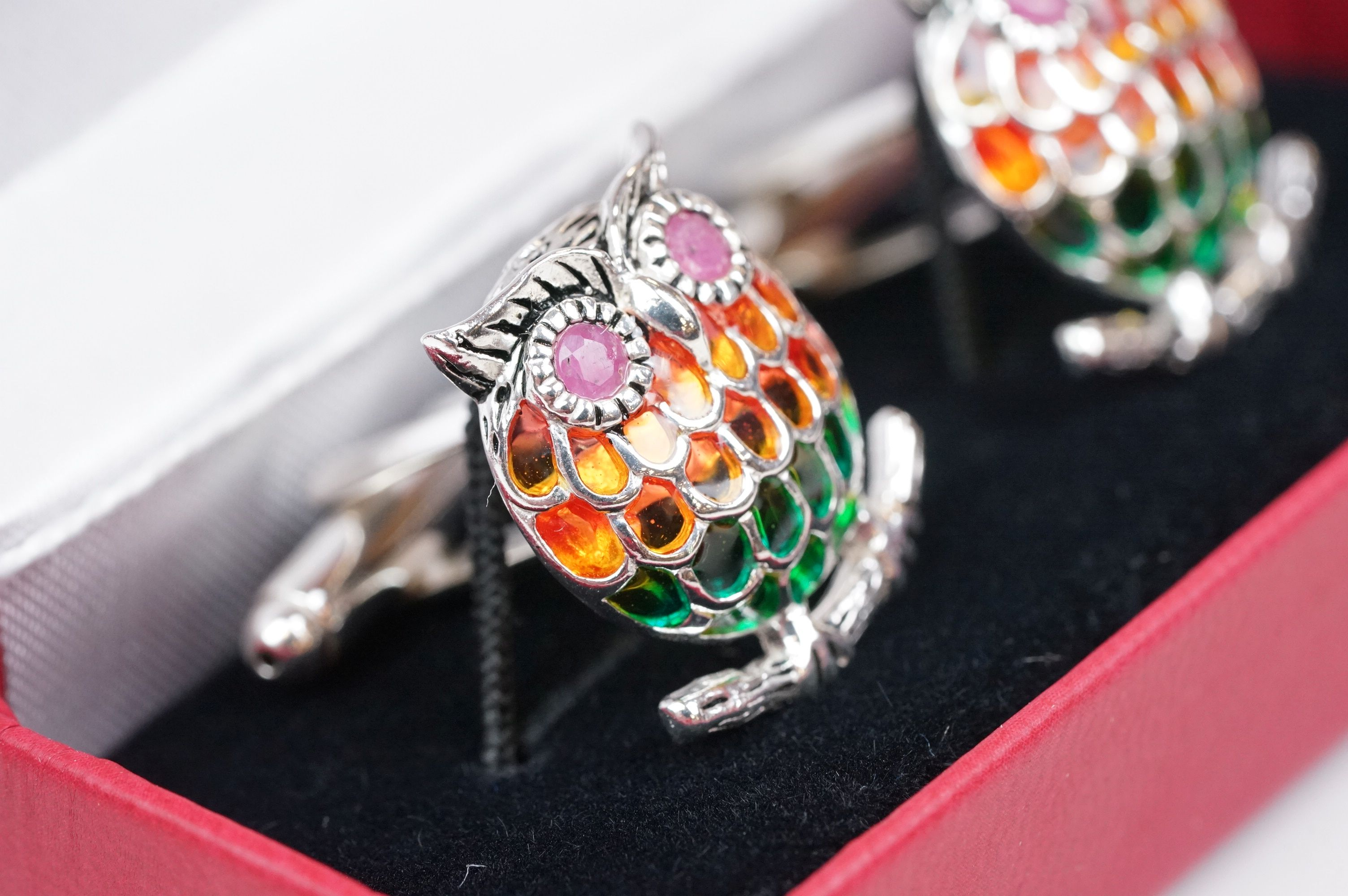 Pair of silver plique-a-jour owl cufflinks, set with ruby eyes - Image 2 of 4