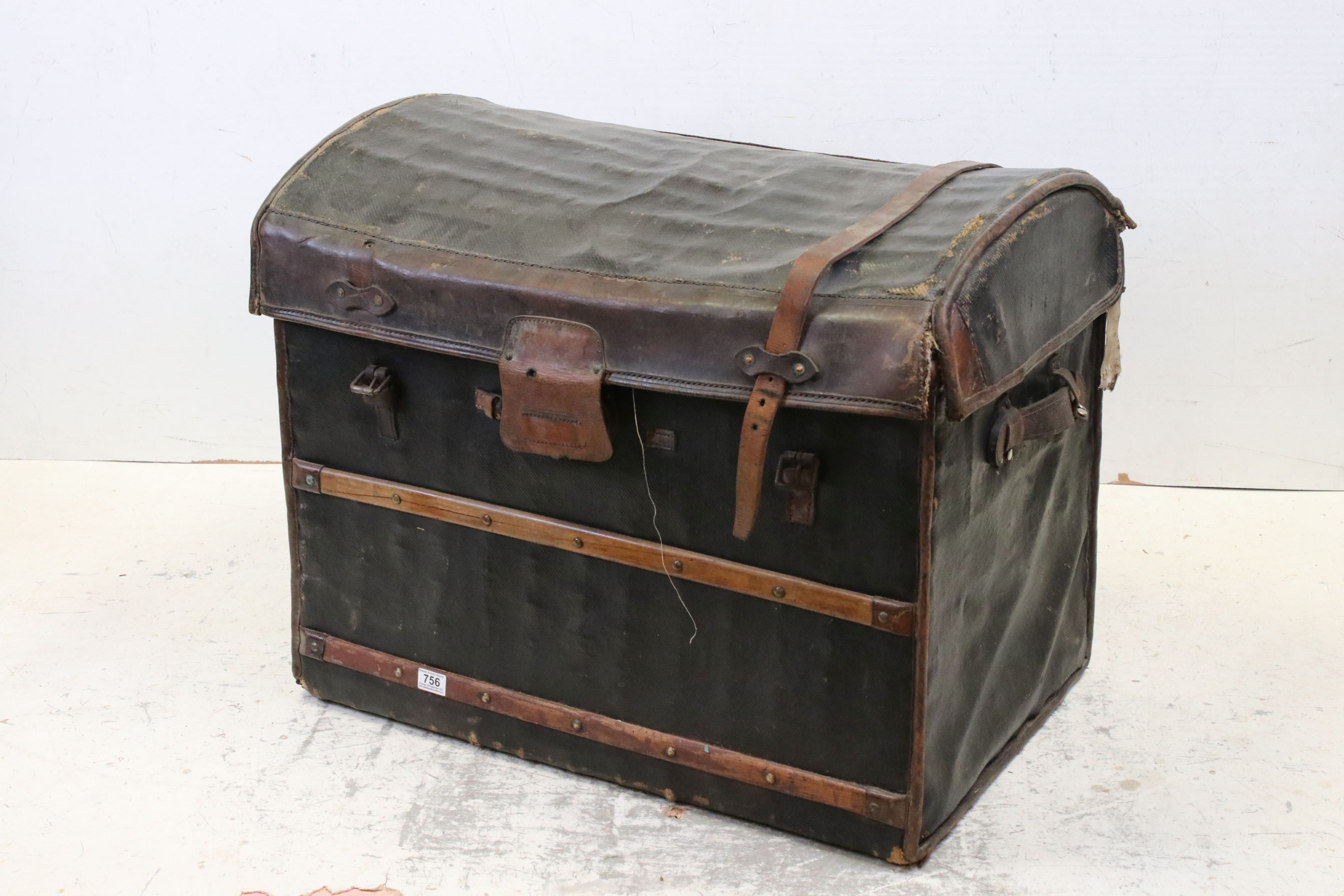 19th century Domed Top Wicker Leather Bound Travelling Trunk with Drop-in Tray, 82cms long x 66cms