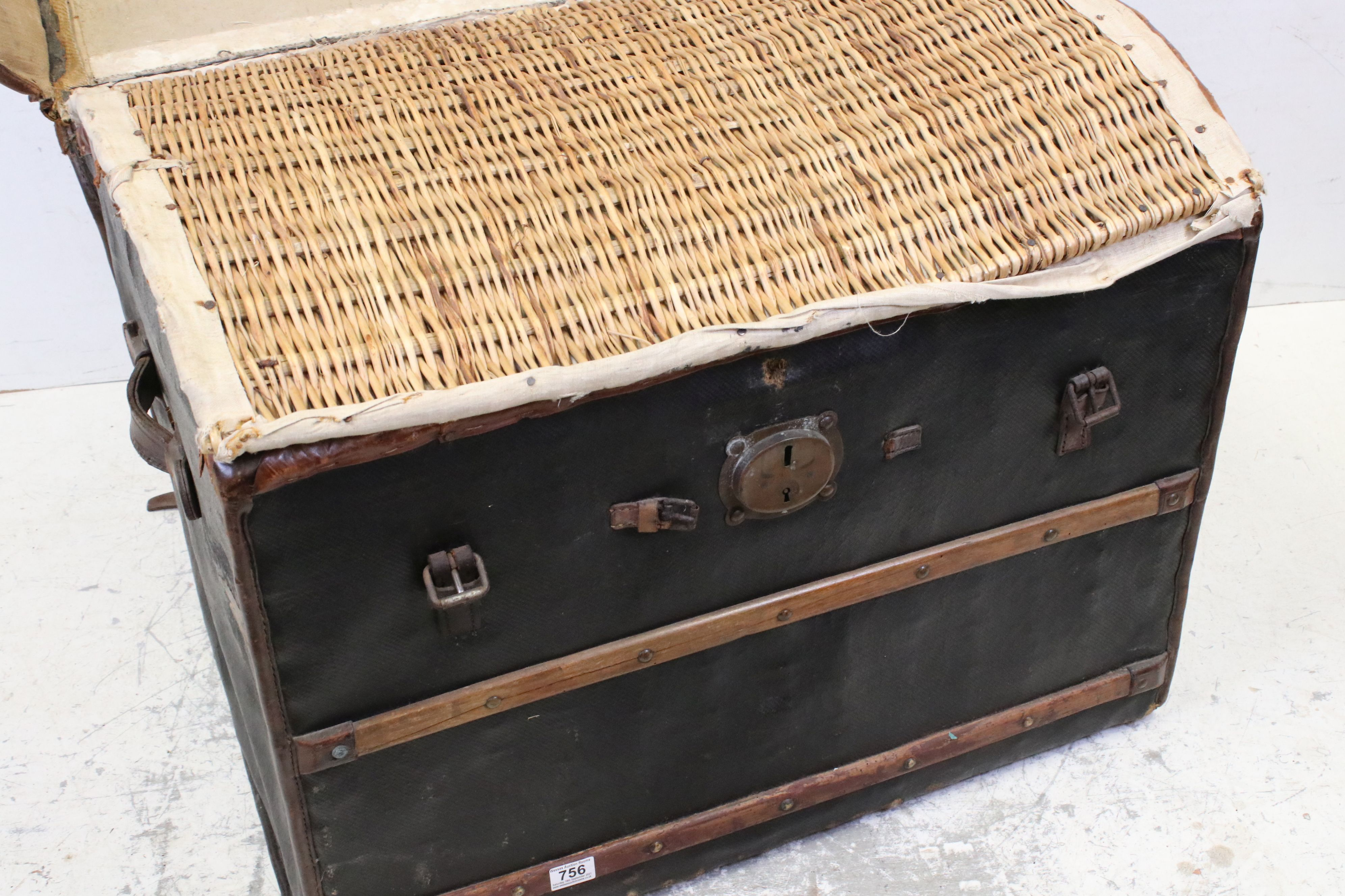 19th century Domed Top Wicker Leather Bound Travelling Trunk with Drop-in Tray, 82cms long x 66cms - Image 2 of 7
