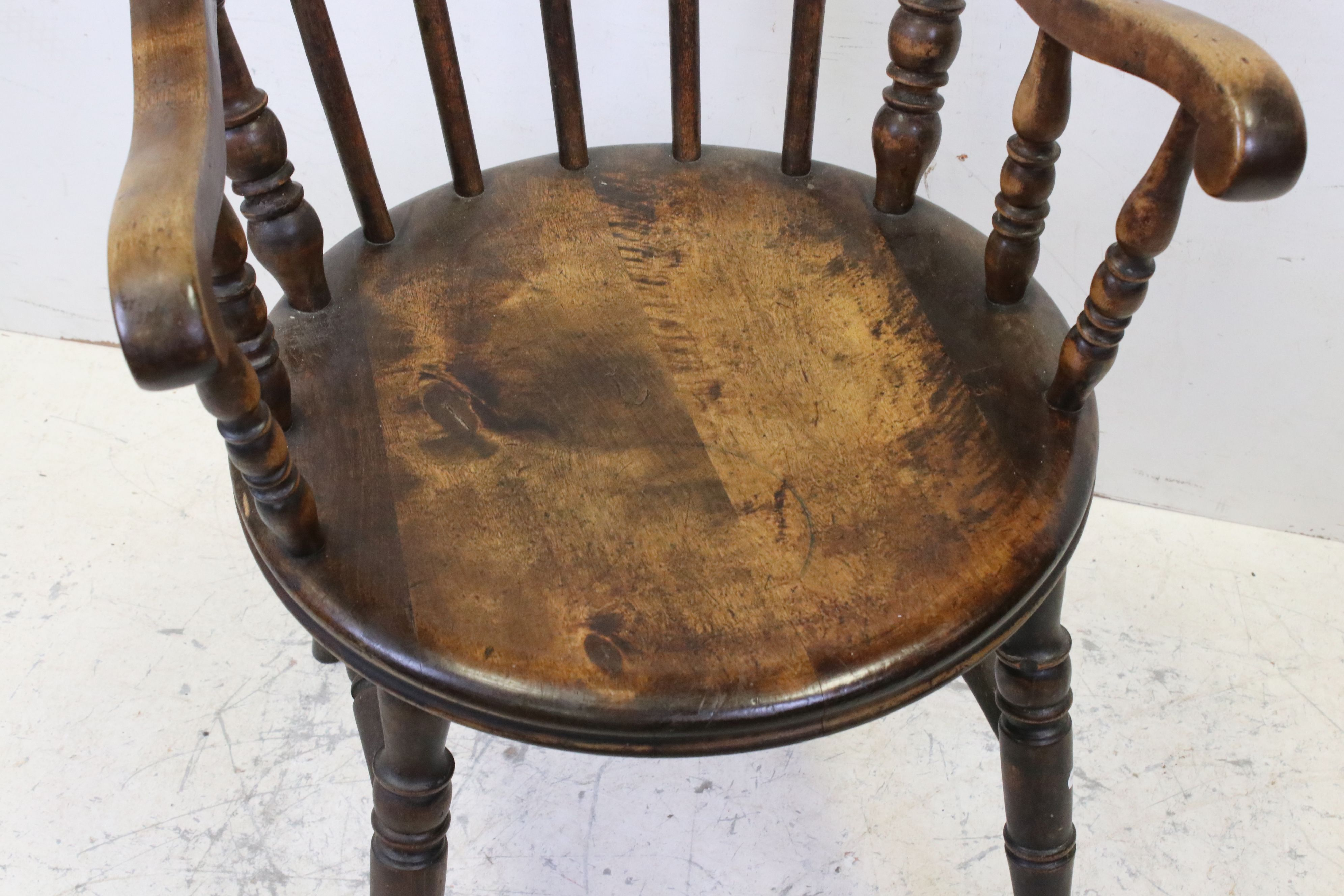 Early 20th century Stickback Elbow Chair with solid circular seat, 88cms high - Image 3 of 3