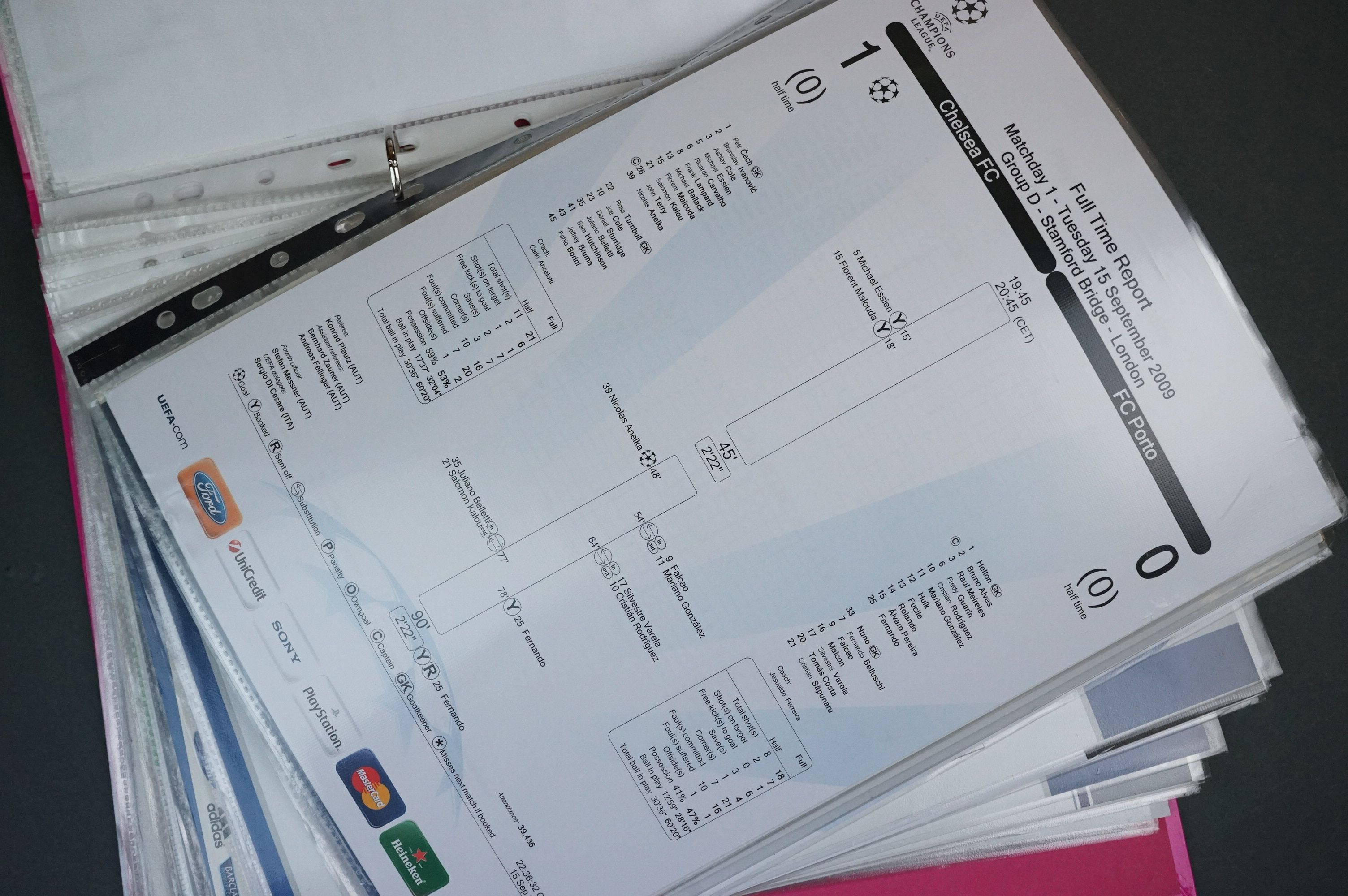 Football - Two binders containing a collection of home and away teamsheets, tickets etc for - Image 7 of 8