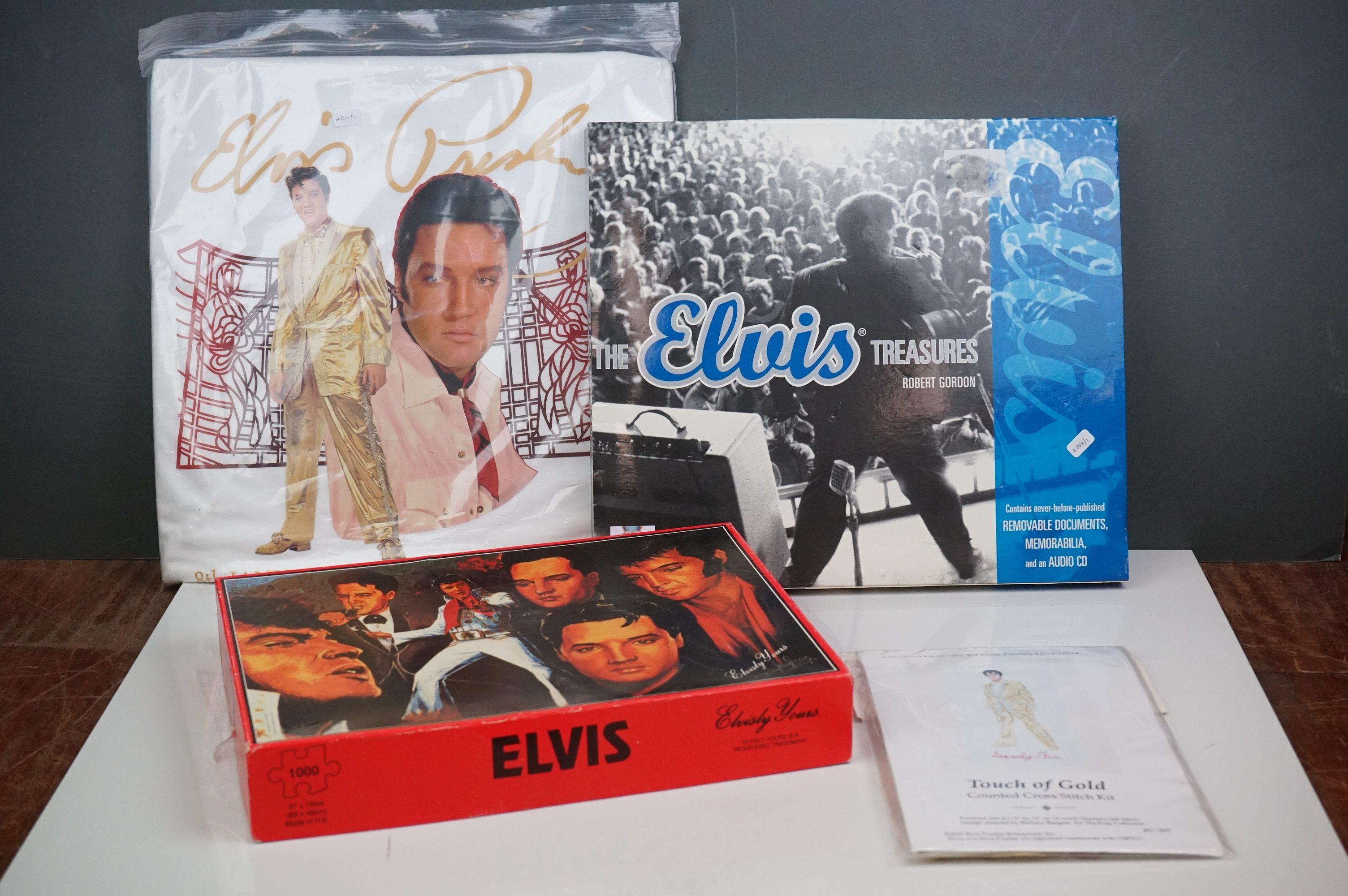 Elvis Presley memorabilia, to include Elvis Treasures, vintage jigsaw, Fruits Of The Loom Elvis T