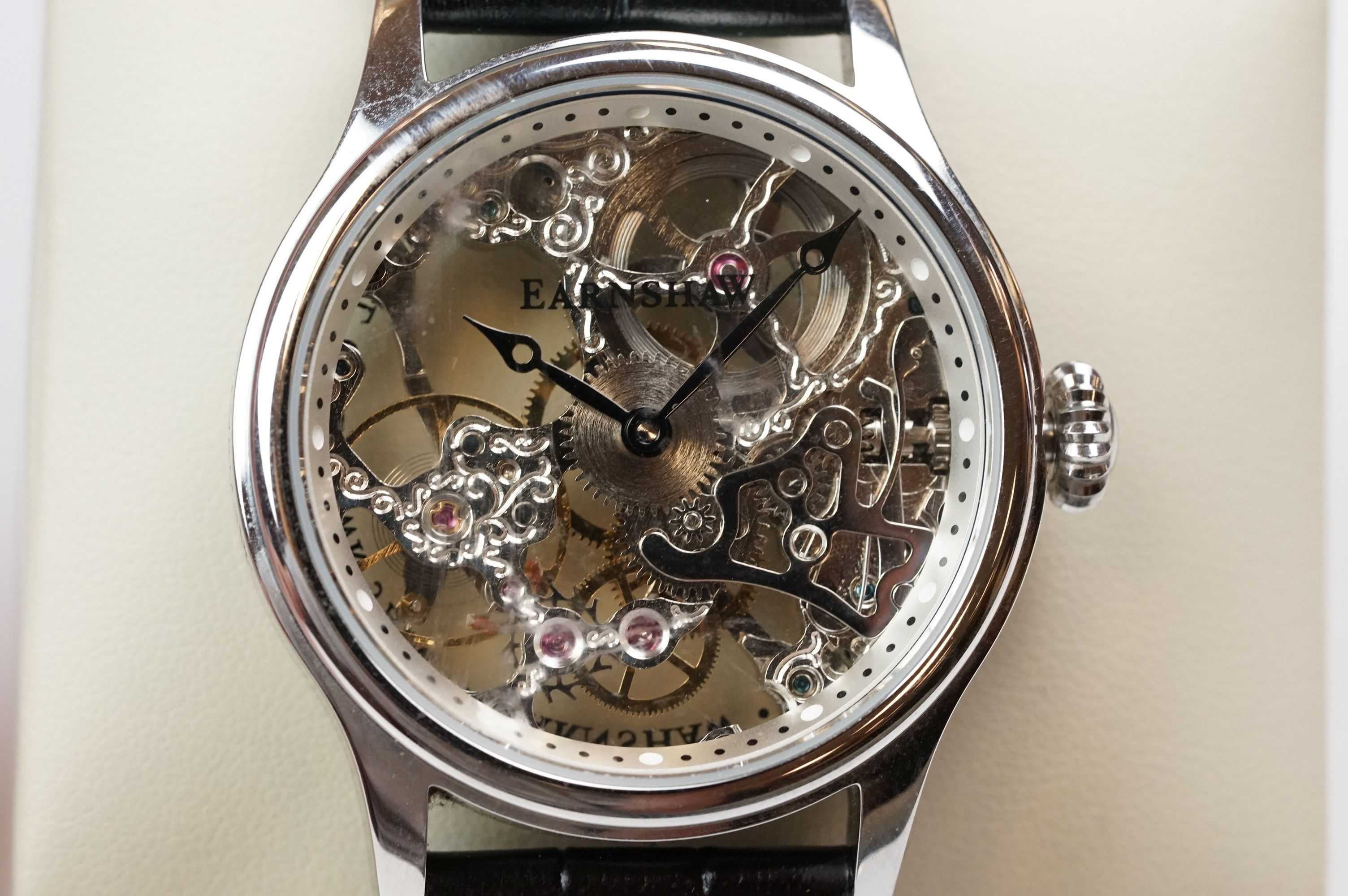 Earnshaw Gents wristwatch, skeleton face and dial, WR 5 ATM 8049, together with paperwork, box and - Image 3 of 9