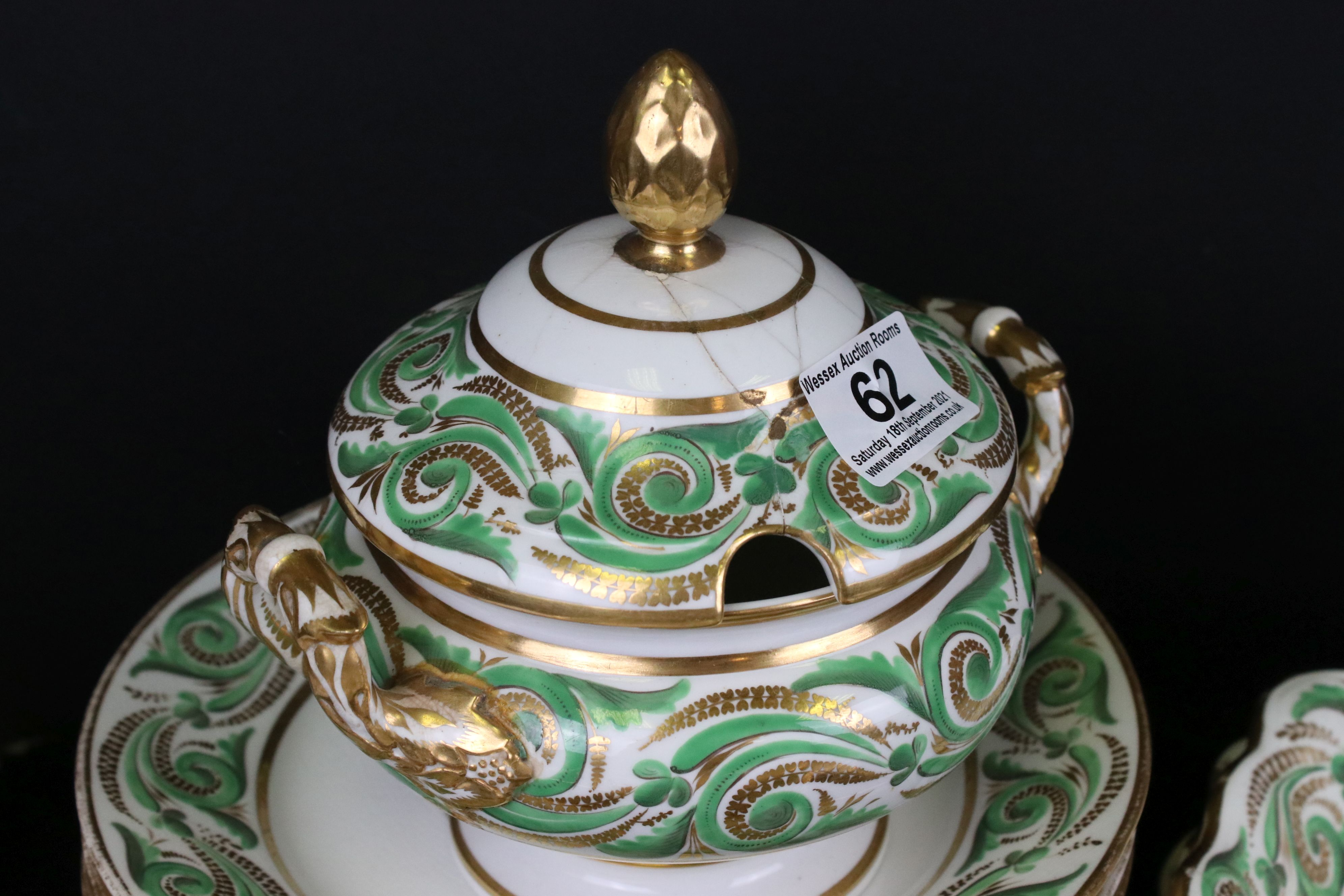 Early 19th century Derby porcelain service, white ground with apple green and gilt scrolling - Image 6 of 8