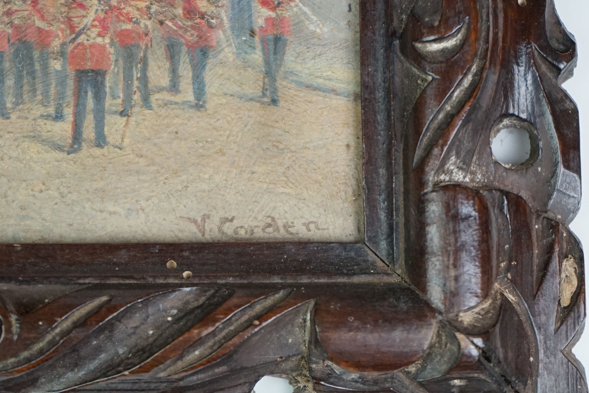 Vintage oil on board of Coldstream Guards outside Henry VIII gateway, signed Victor M Gordon - Image 4 of 4