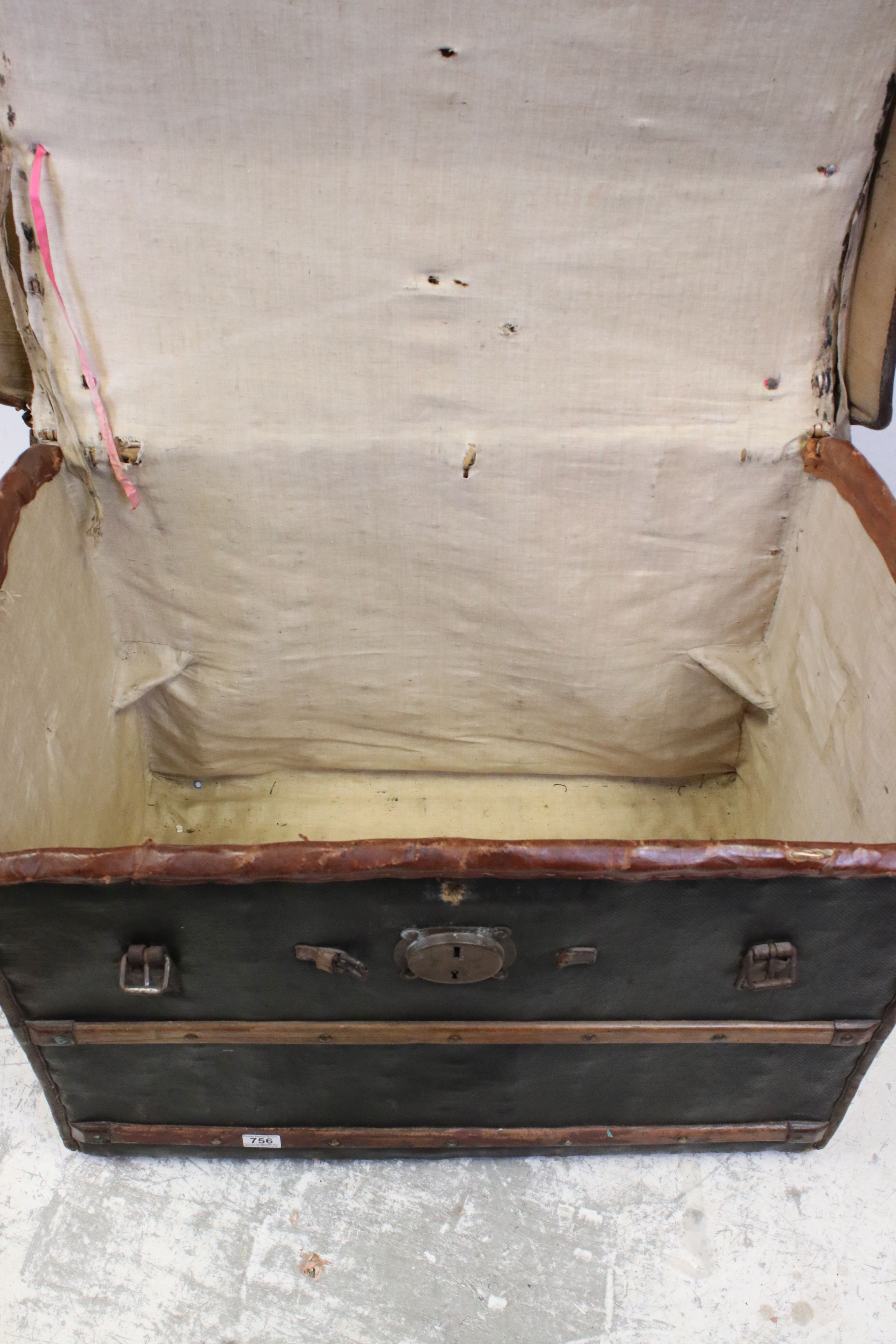 19th century Domed Top Wicker Leather Bound Travelling Trunk with Drop-in Tray, 82cms long x 66cms - Image 4 of 7