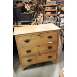 Victorian Pine Chest of Three Long Drawers, 83cms long x 83cms high