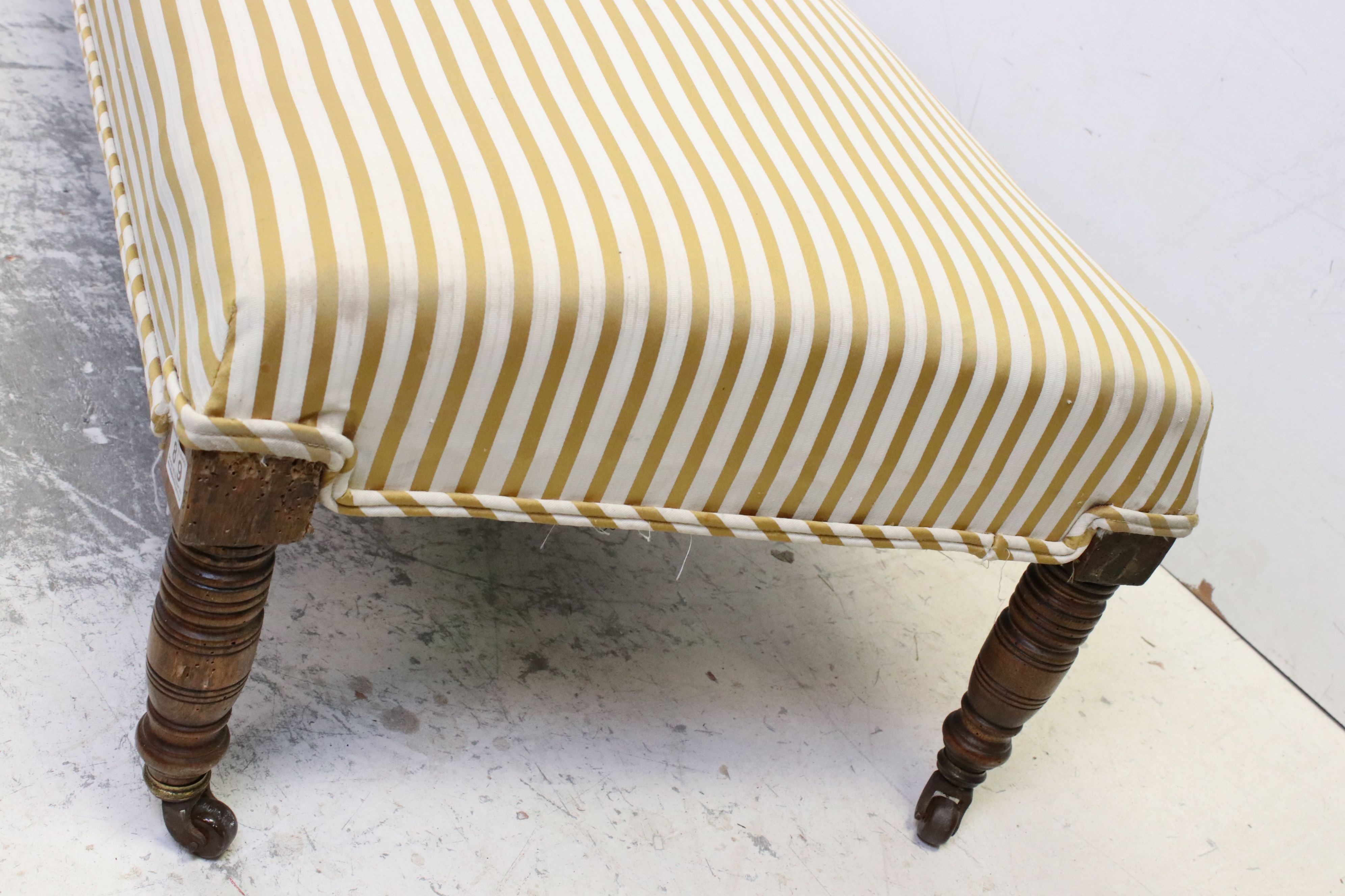 19th century Rectangular Ottoman Stool with striped upholstered top and raised on turned legs with - Image 2 of 5