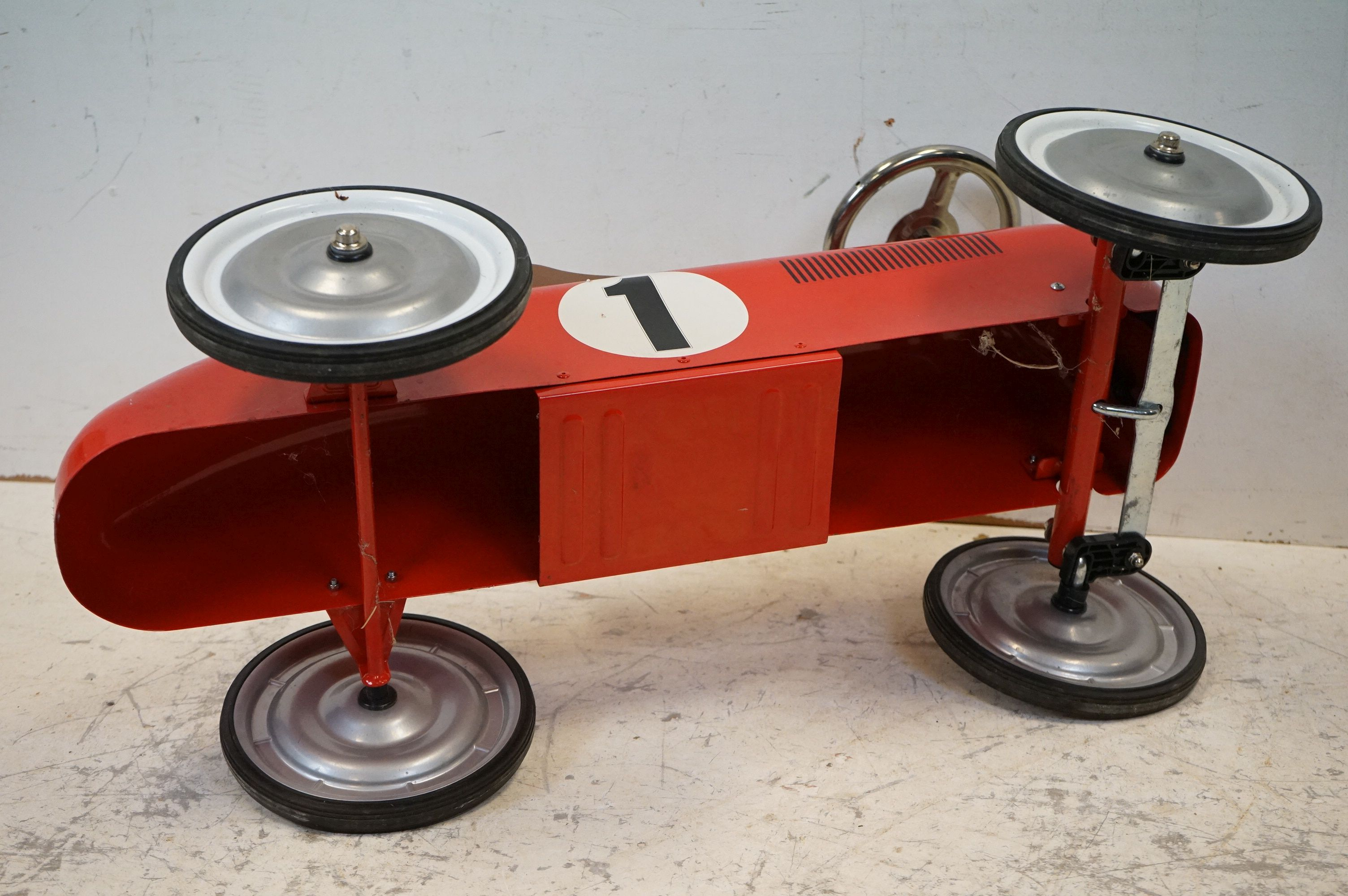 A contemporary metal red Childs racing car. - Image 5 of 5