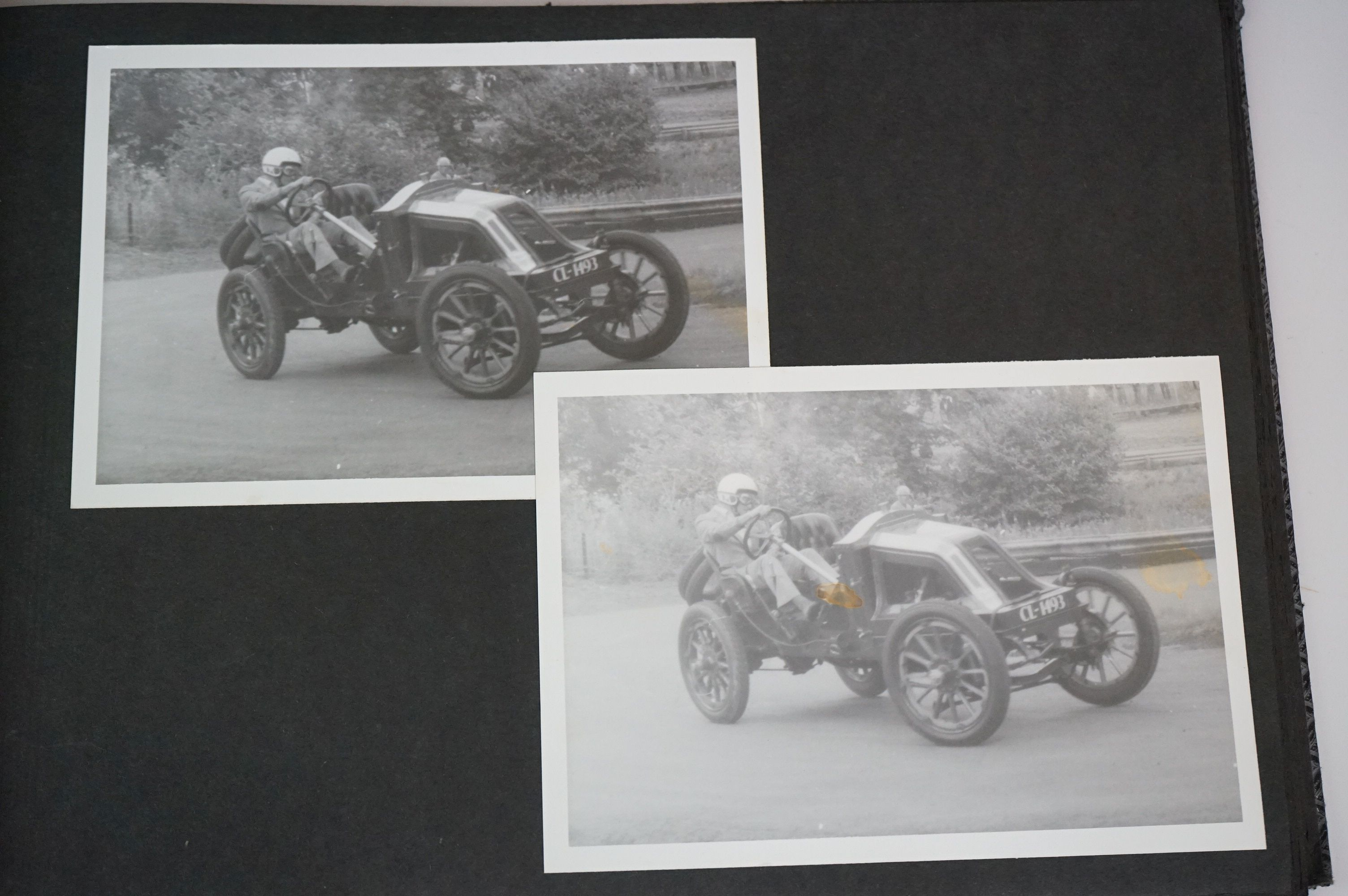 A vintage photograph album with vintage black and white photos of motor racing cars. - Image 3 of 5