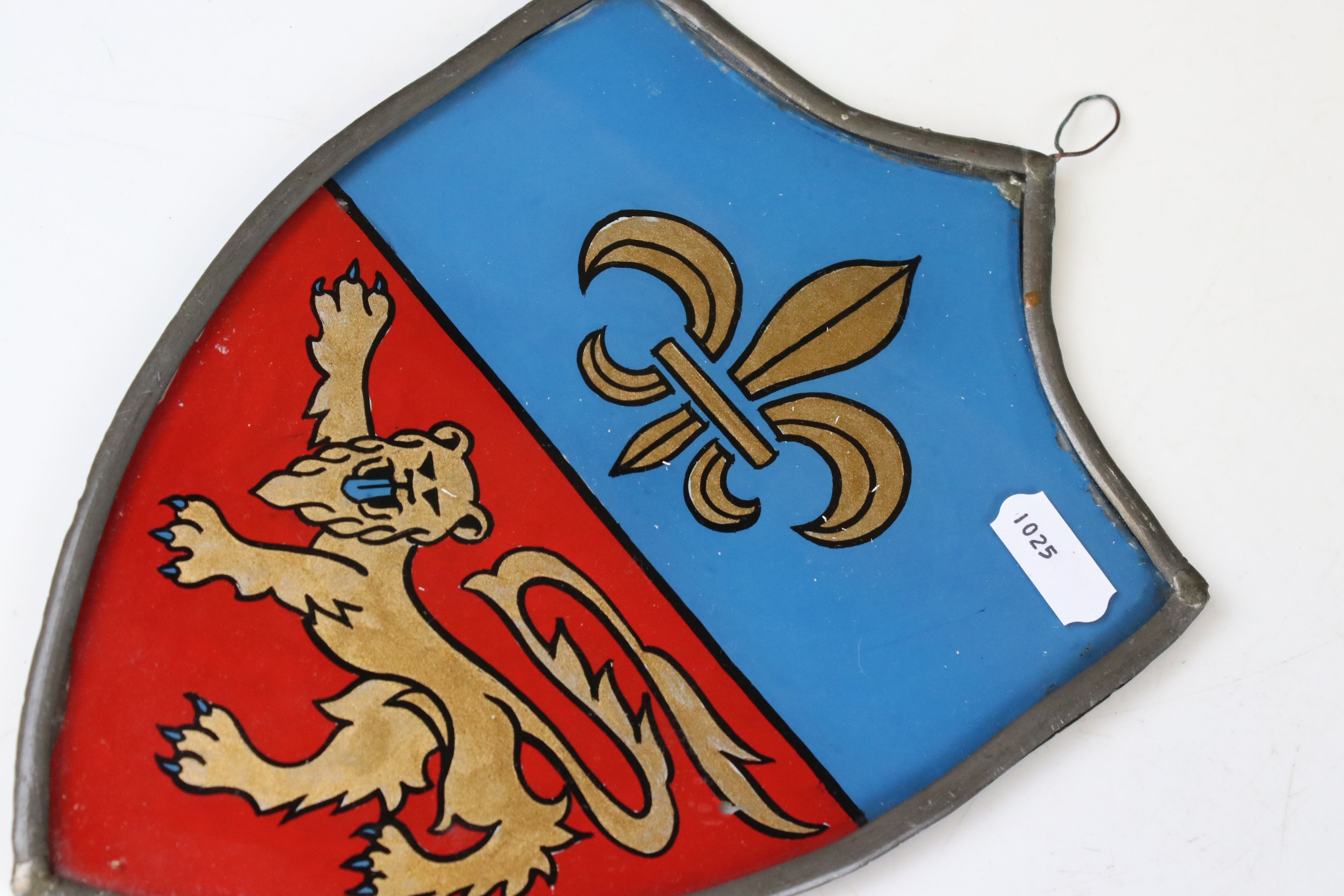 Pair of Heraldic Stained Glass Panels reverse painted with Fleur De Lys and Lions, contained in - Image 2 of 4