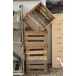 Four stacking pine crates for apples / vegetables