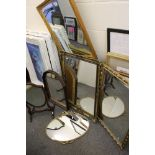 Three Gilt Framed Mirrors together with an Oval Metal Framed Mirror, Mahogany Shield Shaped Swing