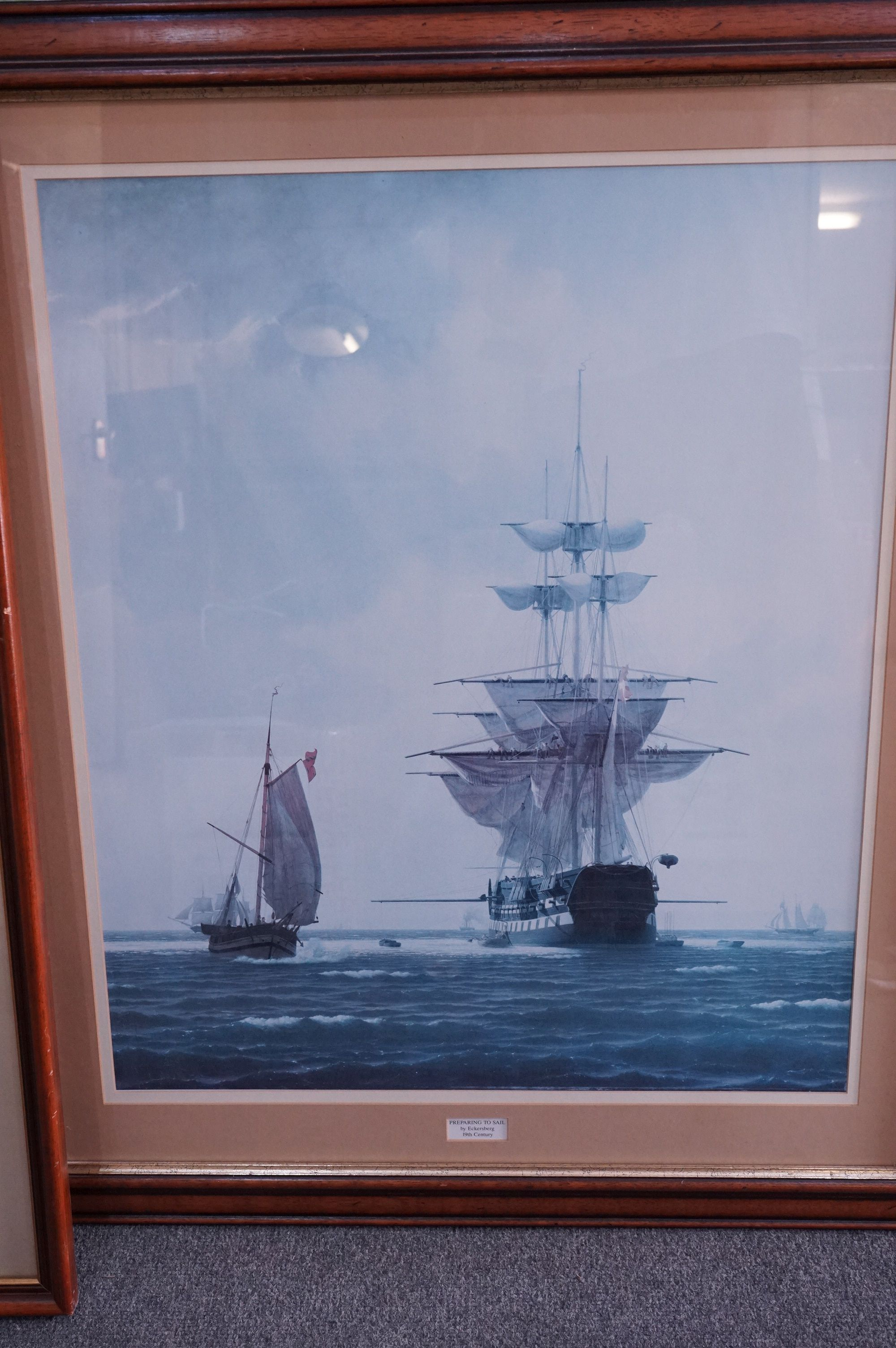 Four Large Framed and Glazed Sailing Ship Prints including Roger Desoutter ' Hove -to off the - Image 5 of 11