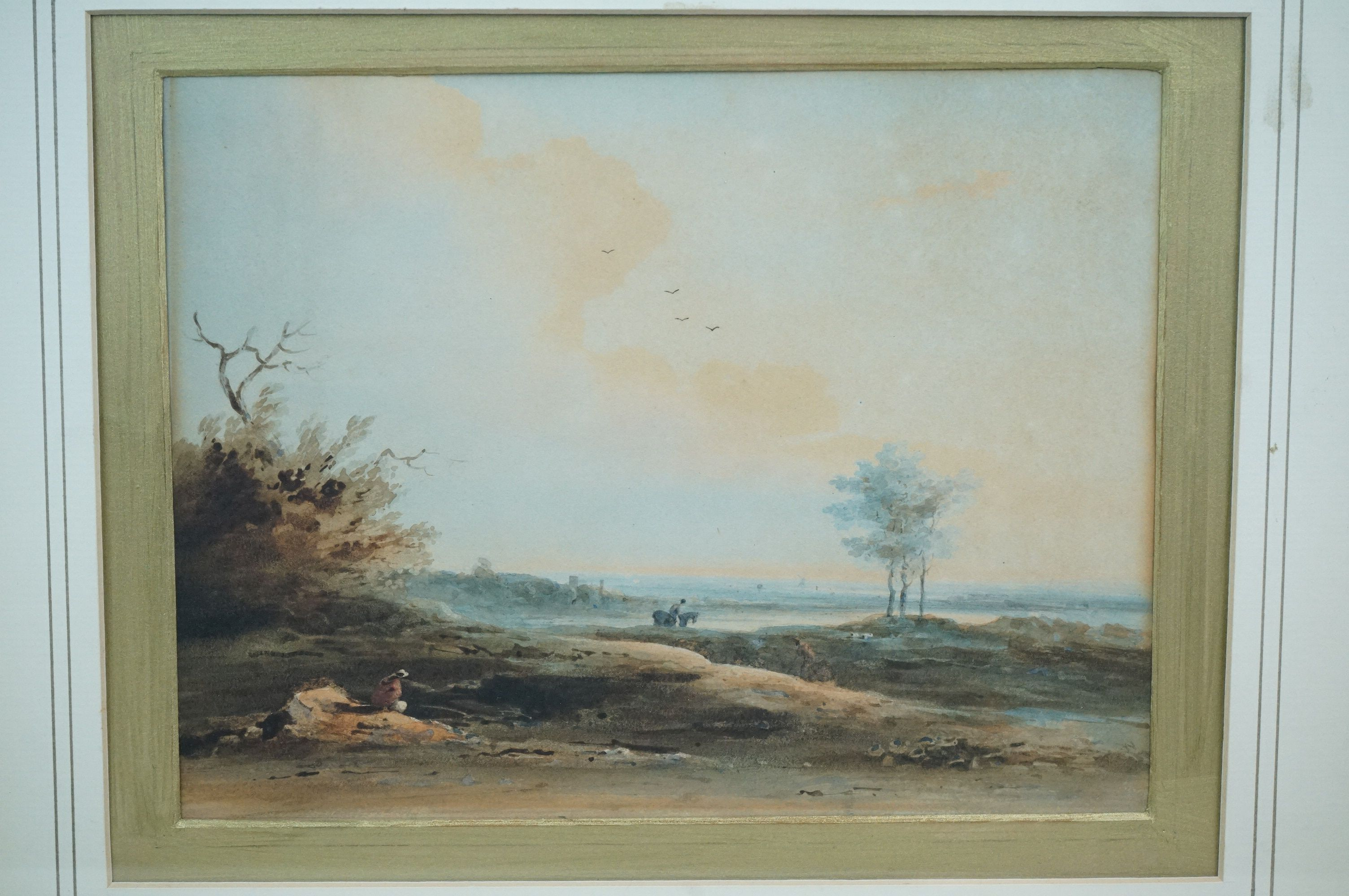 Paul Sanby RA, 1731-1809, watercolour, an extensive rural landscape with figures and horse, gilt - Image 2 of 4