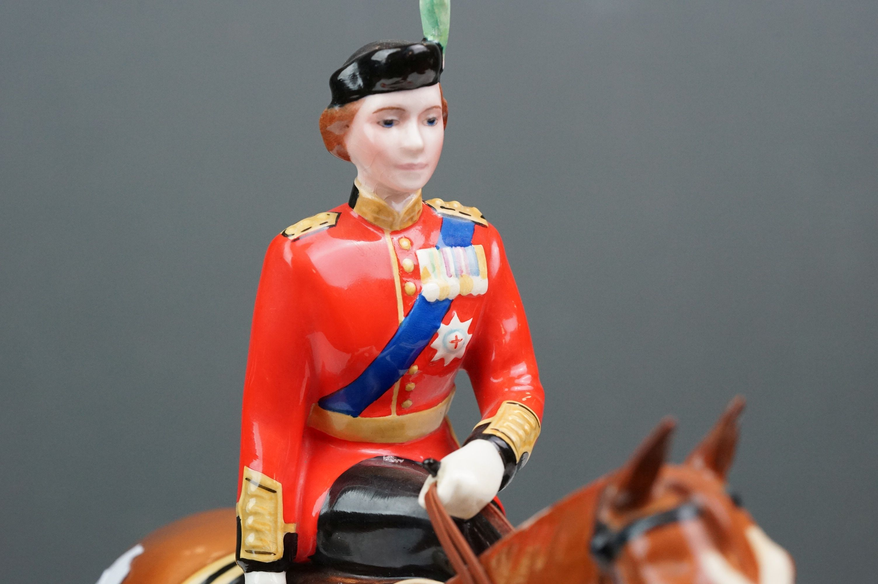 Beswick HM Queen Elizabeth II mounted on Imperial, Trooping the Colour 1957, model no. 1546 H26.5cm - Image 7 of 8