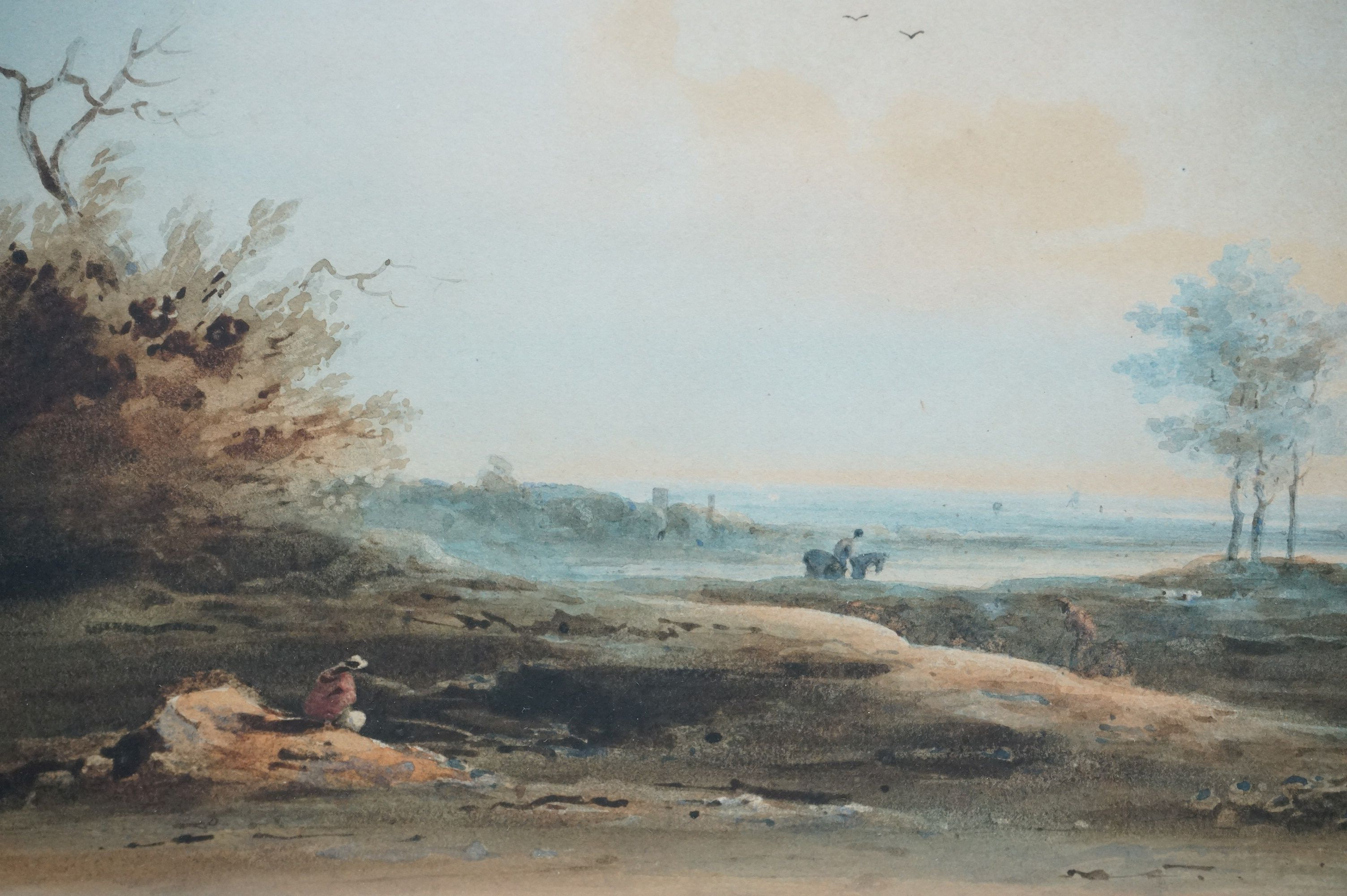 Paul Sanby RA, 1731-1809, watercolour, an extensive rural landscape with figures and horse, gilt - Image 3 of 4