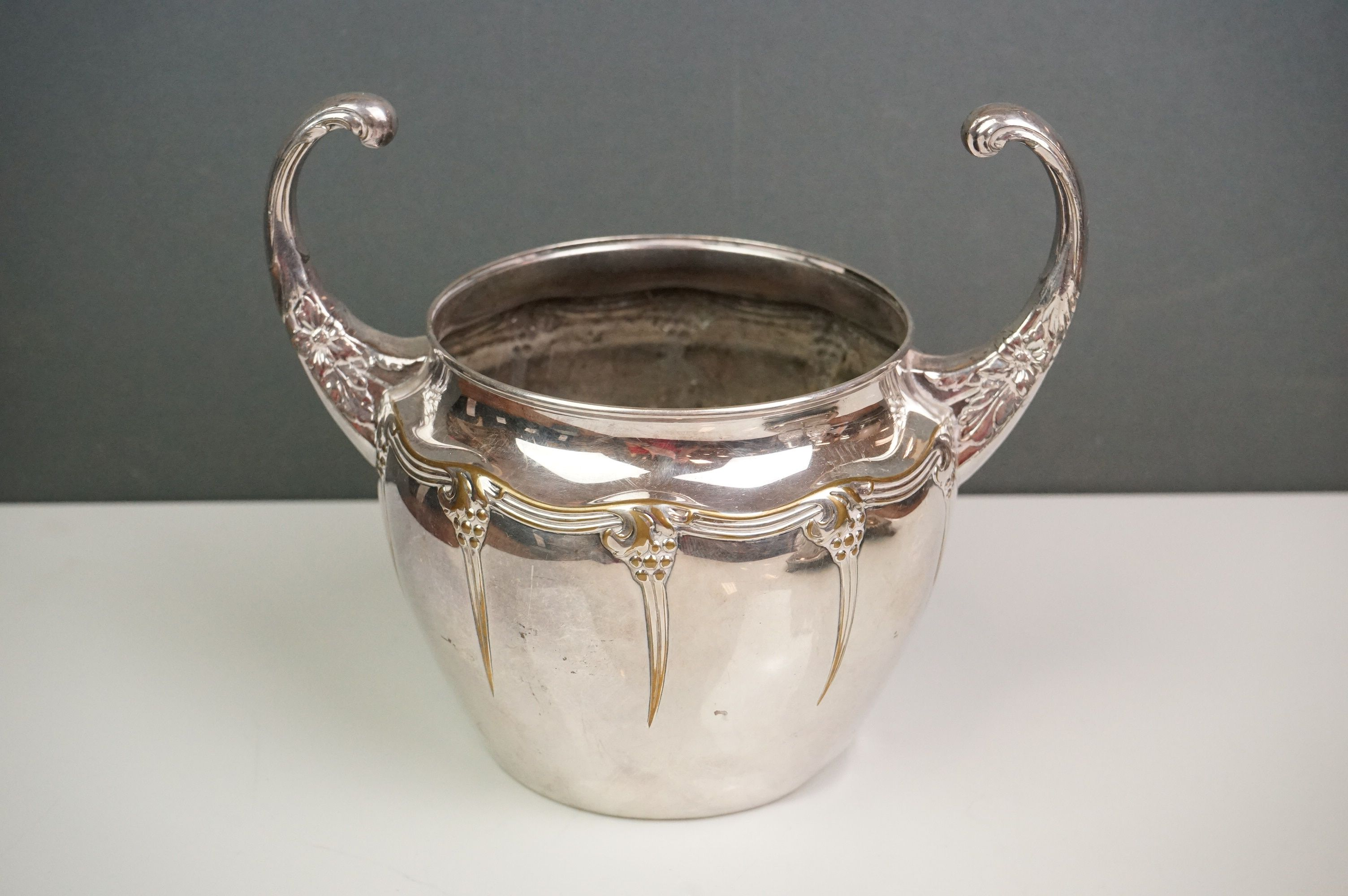 Silver plate - a Victorian four bottle cruet with cut glass bottles, WMF bowl with raised scroll - Image 2 of 6
