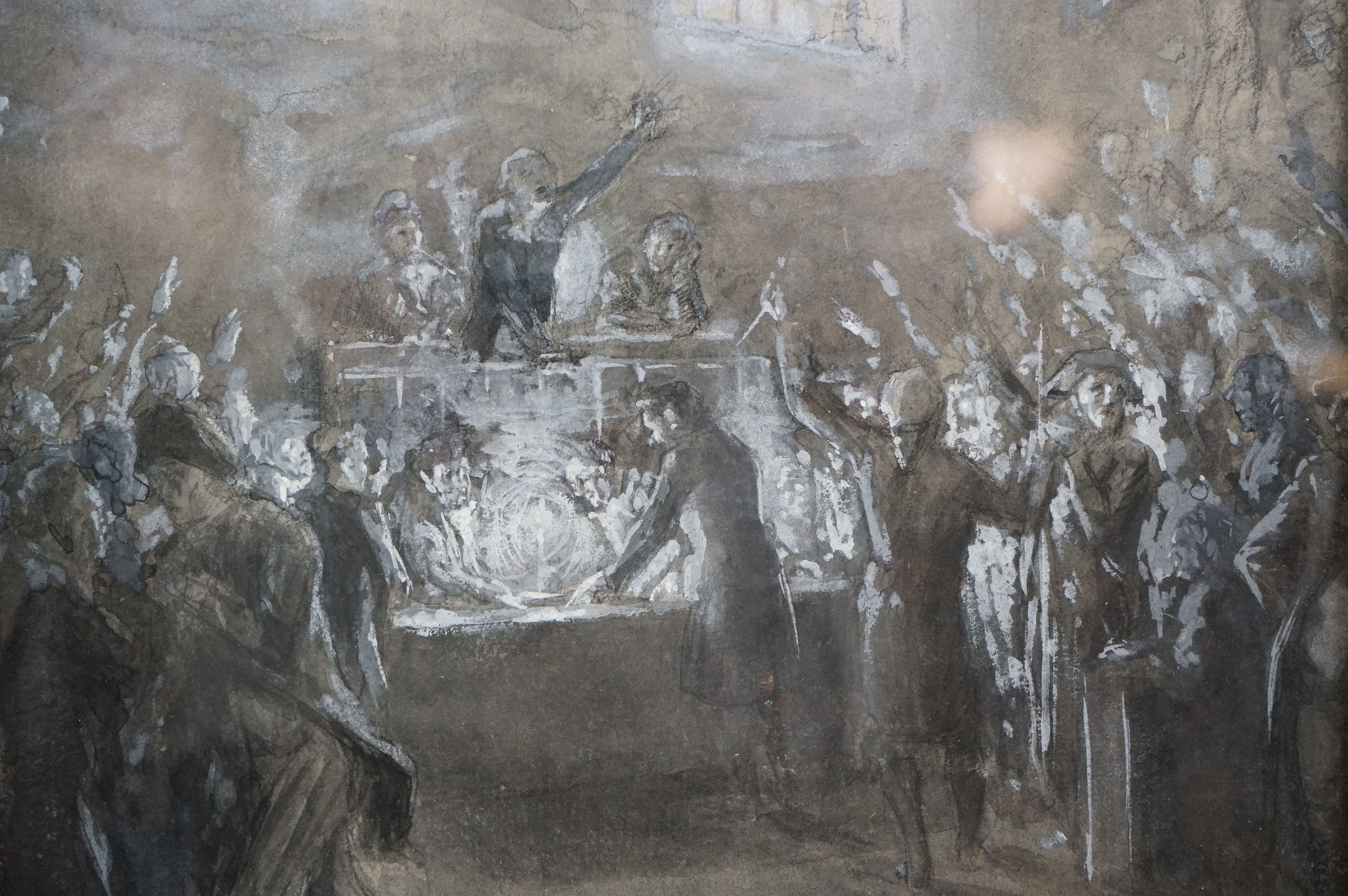 Watercolour of 19th century parliamentary figures casting a vote, possibly French - Image 3 of 5