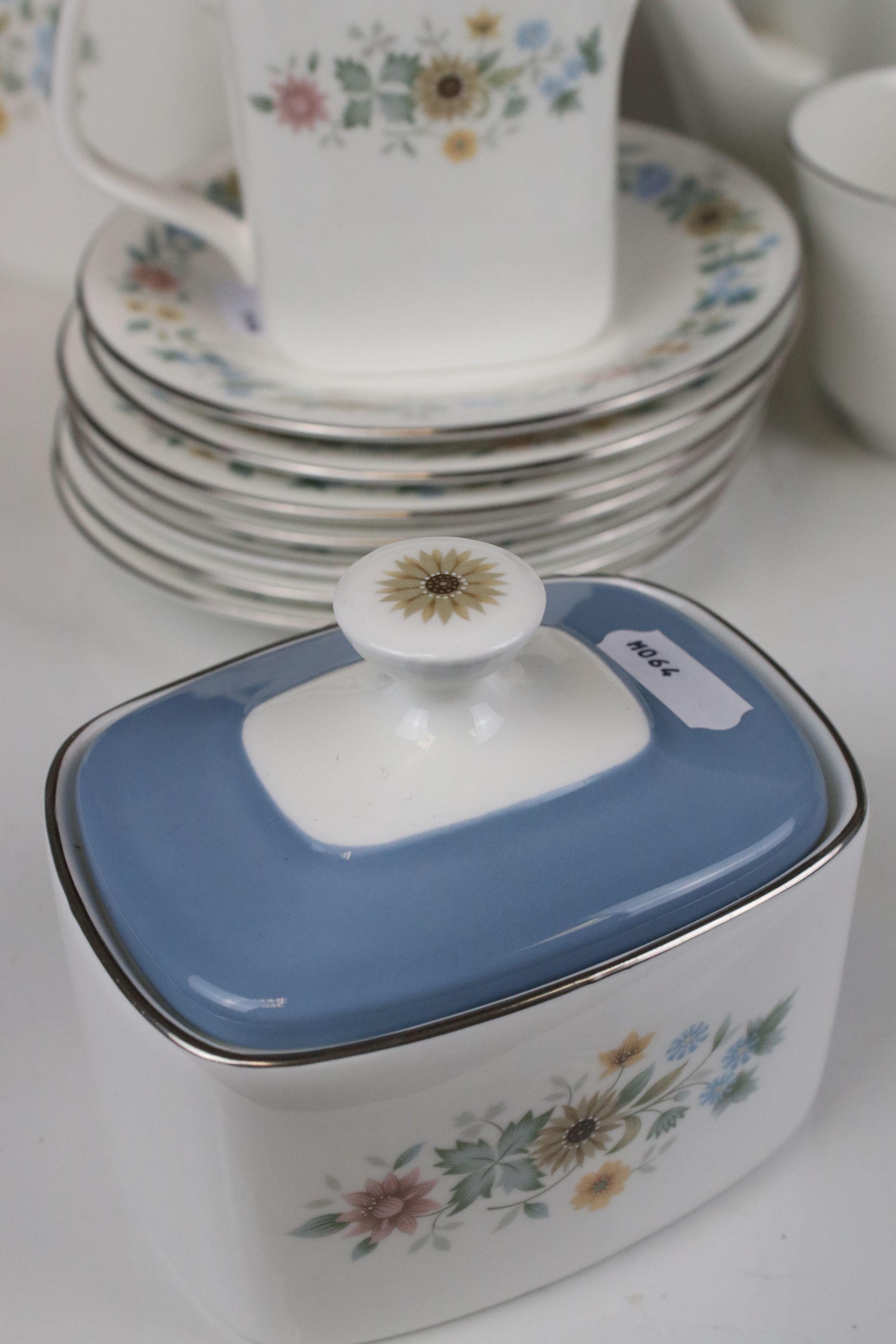 Royal Doulton ' Pastorale ' Tea Set comprising Two Teapots, Milk, Sugar, 6 Cups and 7 Saucers - Image 6 of 7