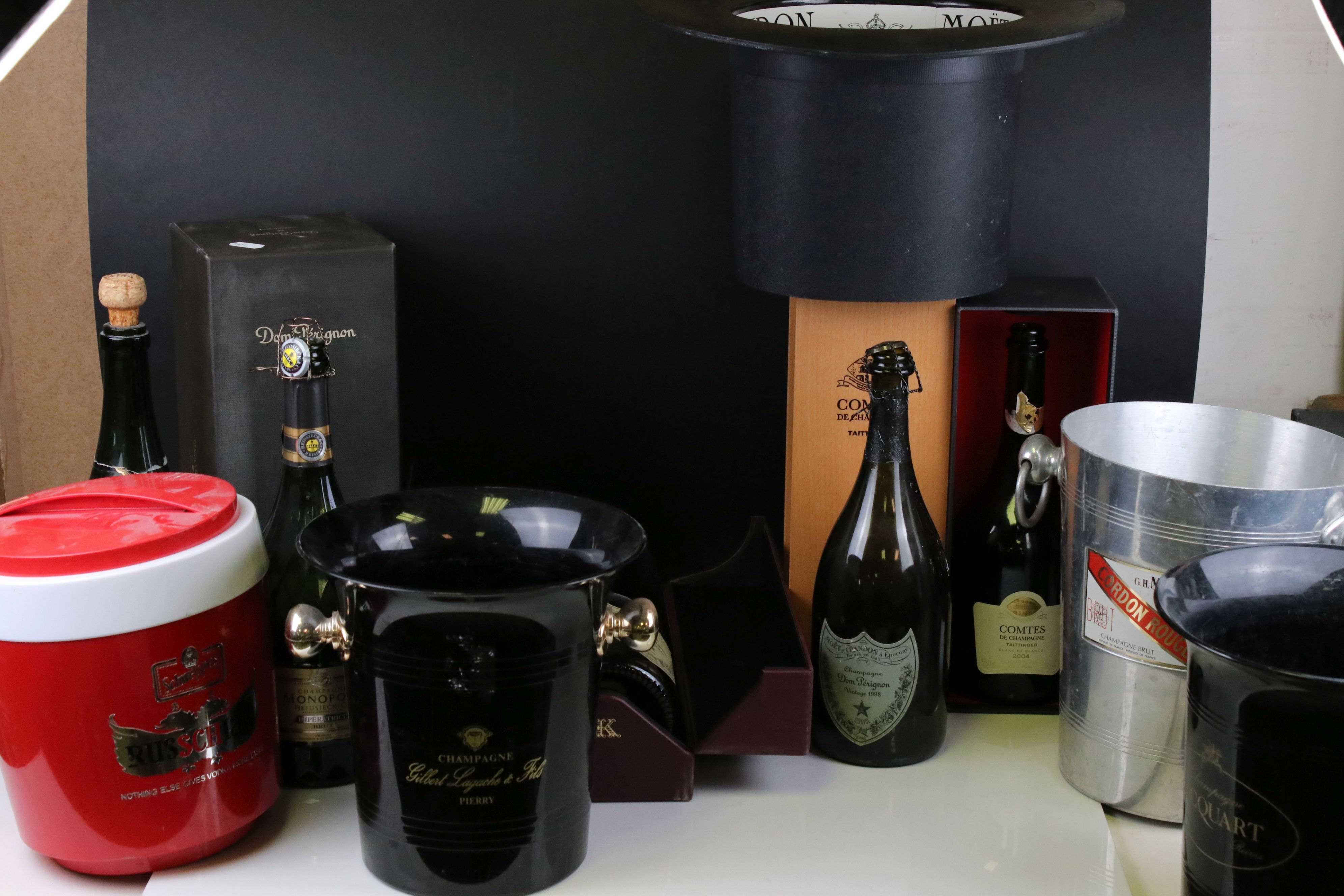 Moet & Chandon Top Hat Ice Bucket together with Five Further Ice Buckets, Moet & Chandon Glass