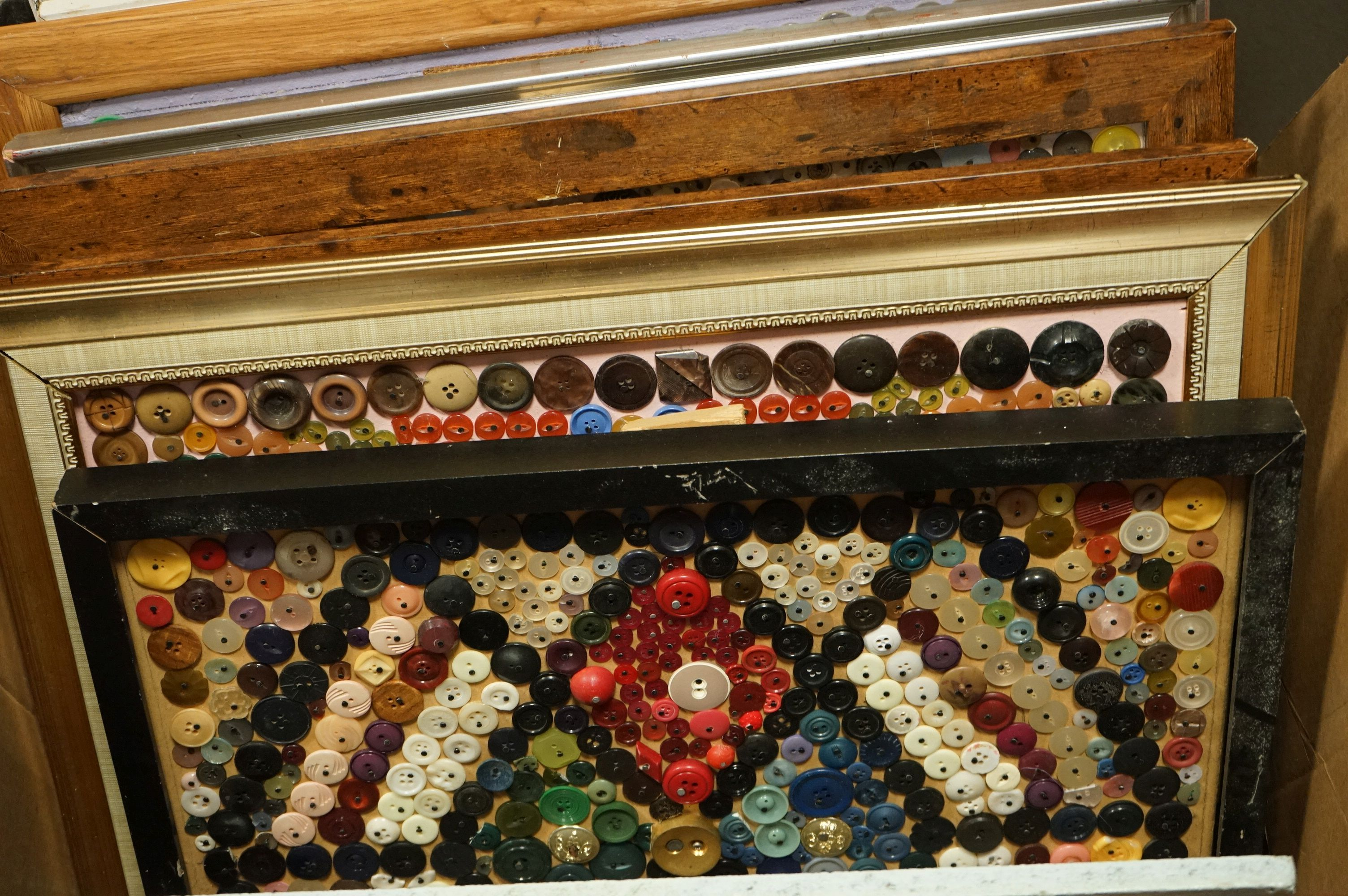 Eleven large framed collages of assorted buttons all by D. Jacques. - Image 4 of 10