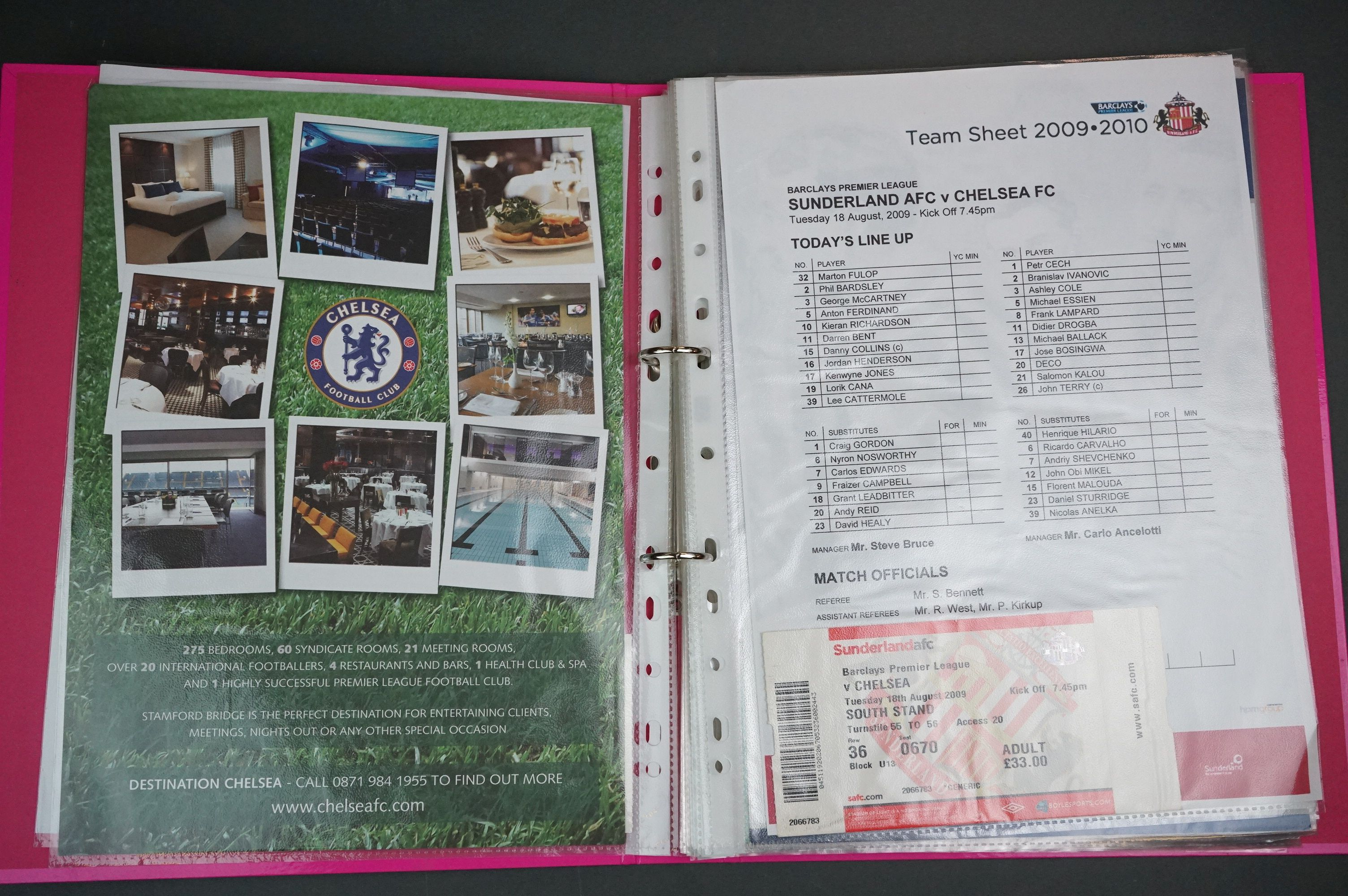 Football - Two binders containing a collection of home and away teamsheets, tickets etc for - Image 3 of 8