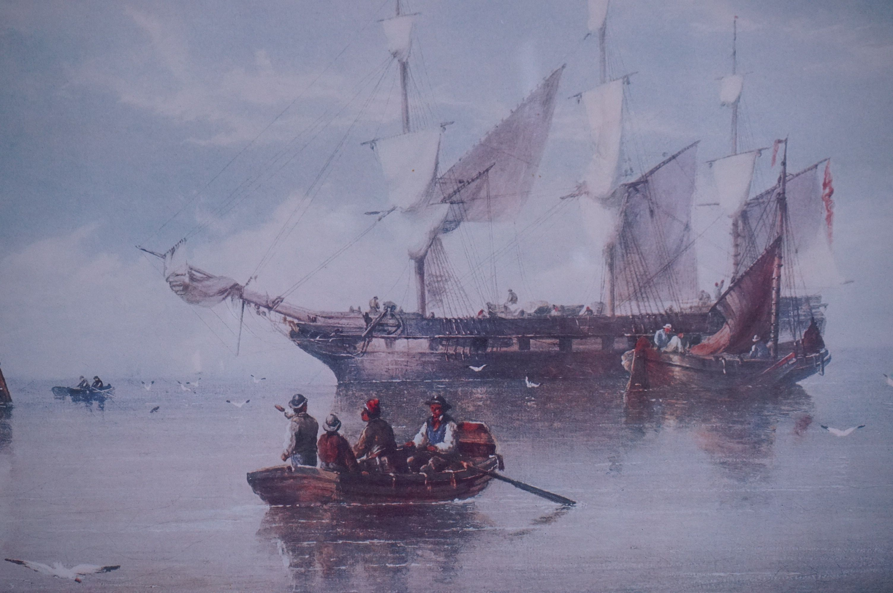 Four Large Framed and Glazed Sailing Ship Prints including Roger Desoutter ' Hove -to off the - Image 11 of 11