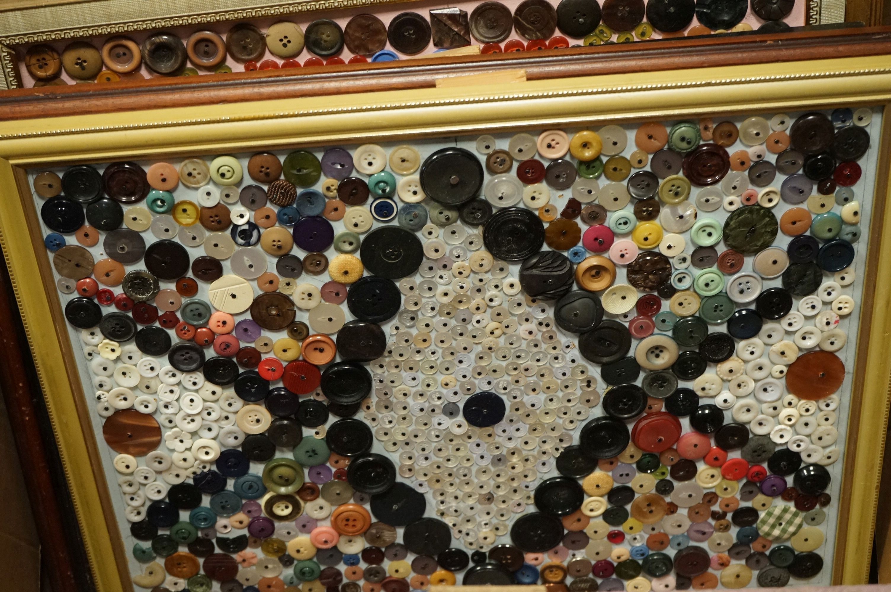 Eleven large framed collages of assorted buttons all by D. Jacques. - Image 3 of 10