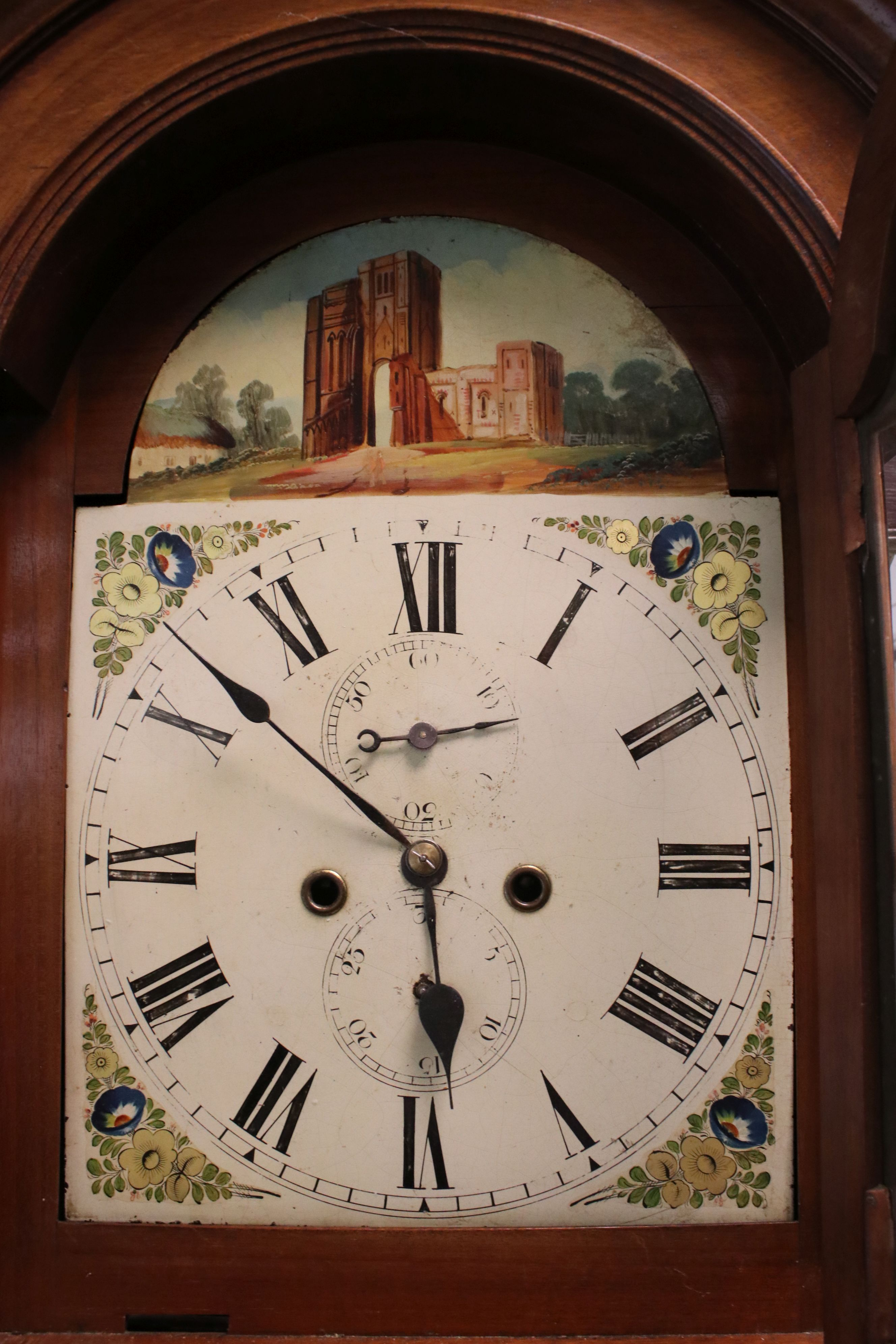 19th century Mahogany 8 day Longcase Clock, the arched dial painted with the scene of a Folly, the - Image 3 of 5