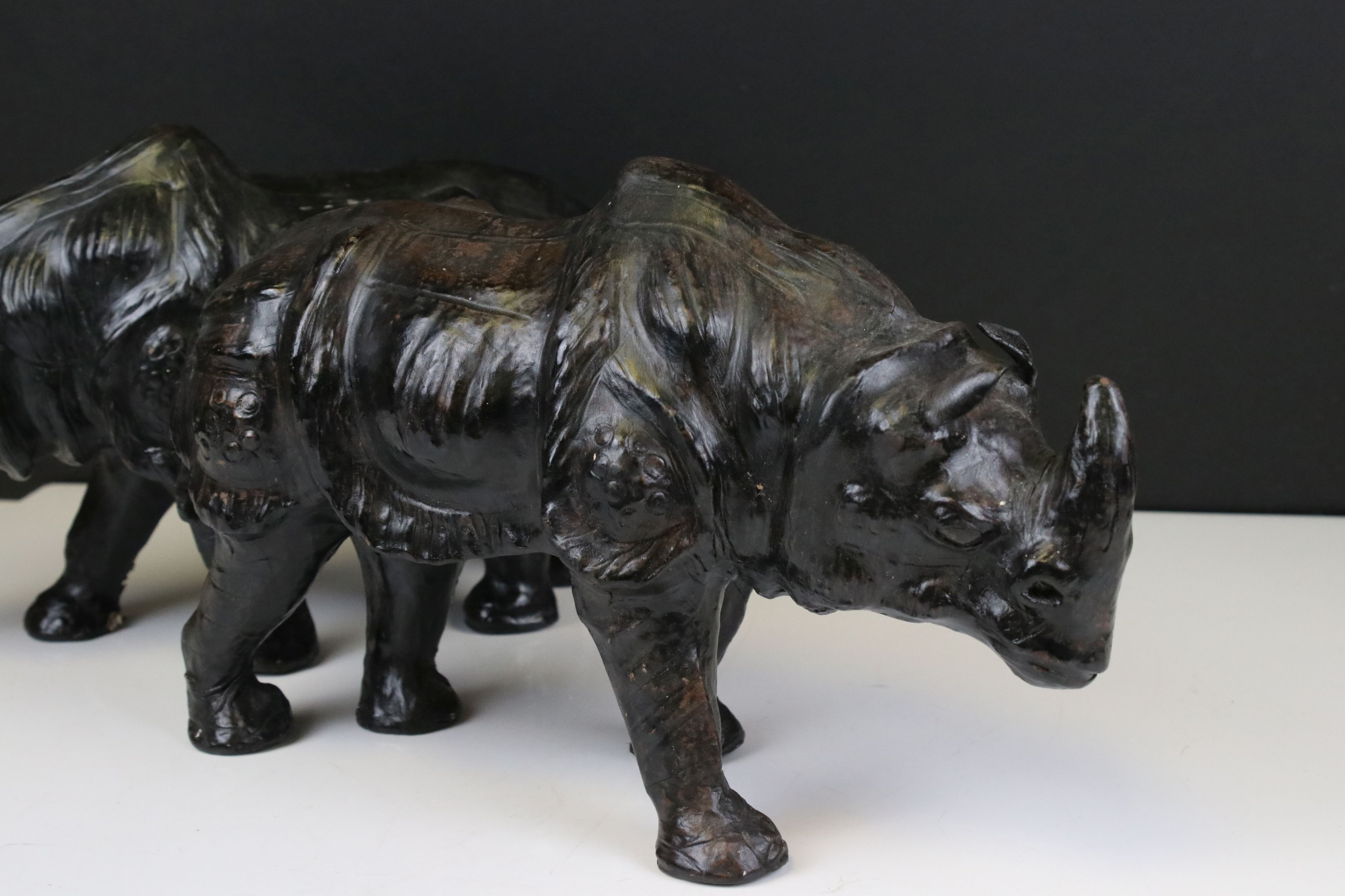 Pair of Leather covered models of Rhinoceros, 19cms high - Image 2 of 7