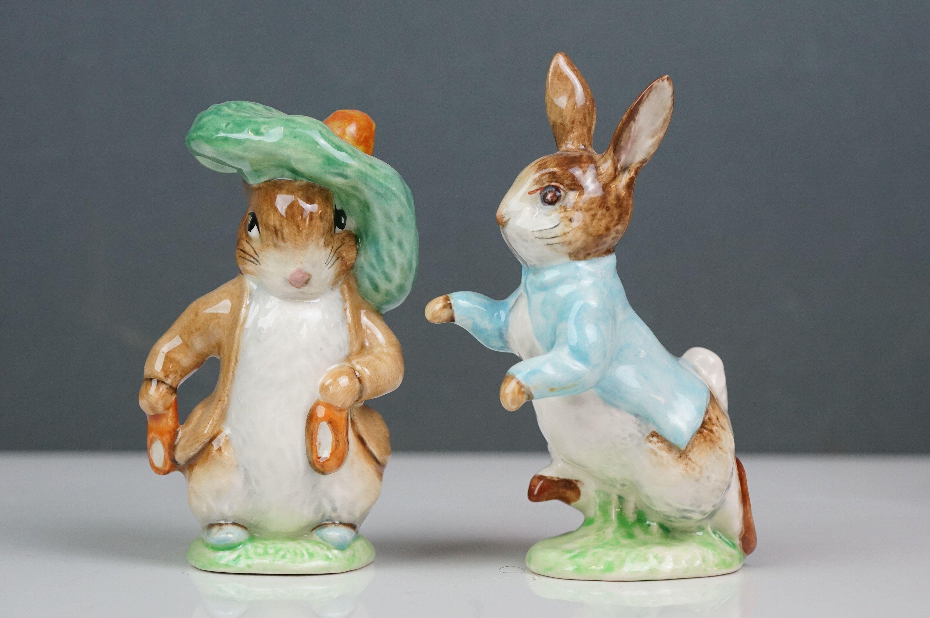 Eight Beswick Beatrix Potter figures comprising Appley Dapply; Timmy Willie; Peter Rabbit; Samuel - Image 9 of 13
