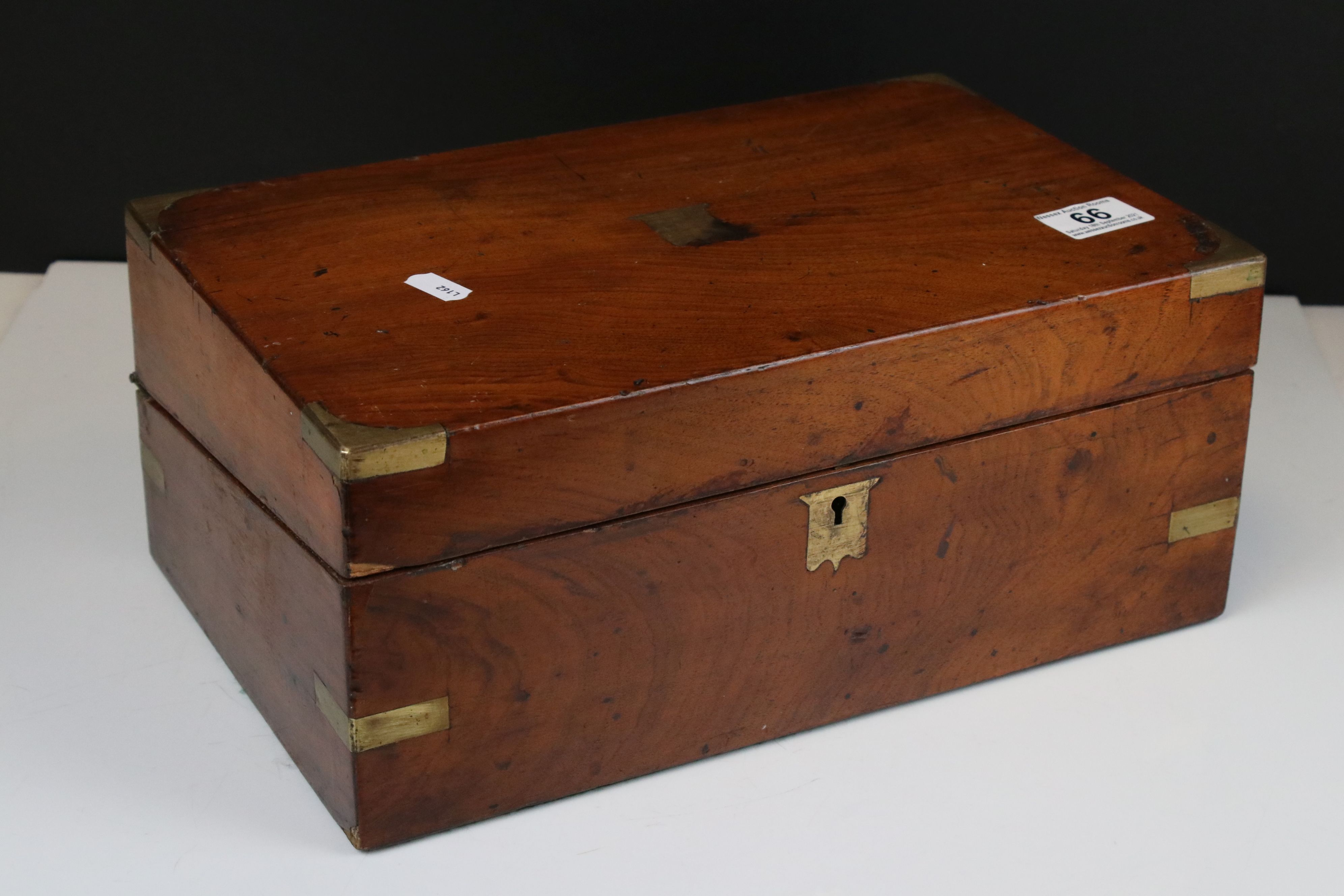 19th century Mahogany and Brass Mounted Writing Slope Box, 35cms wide