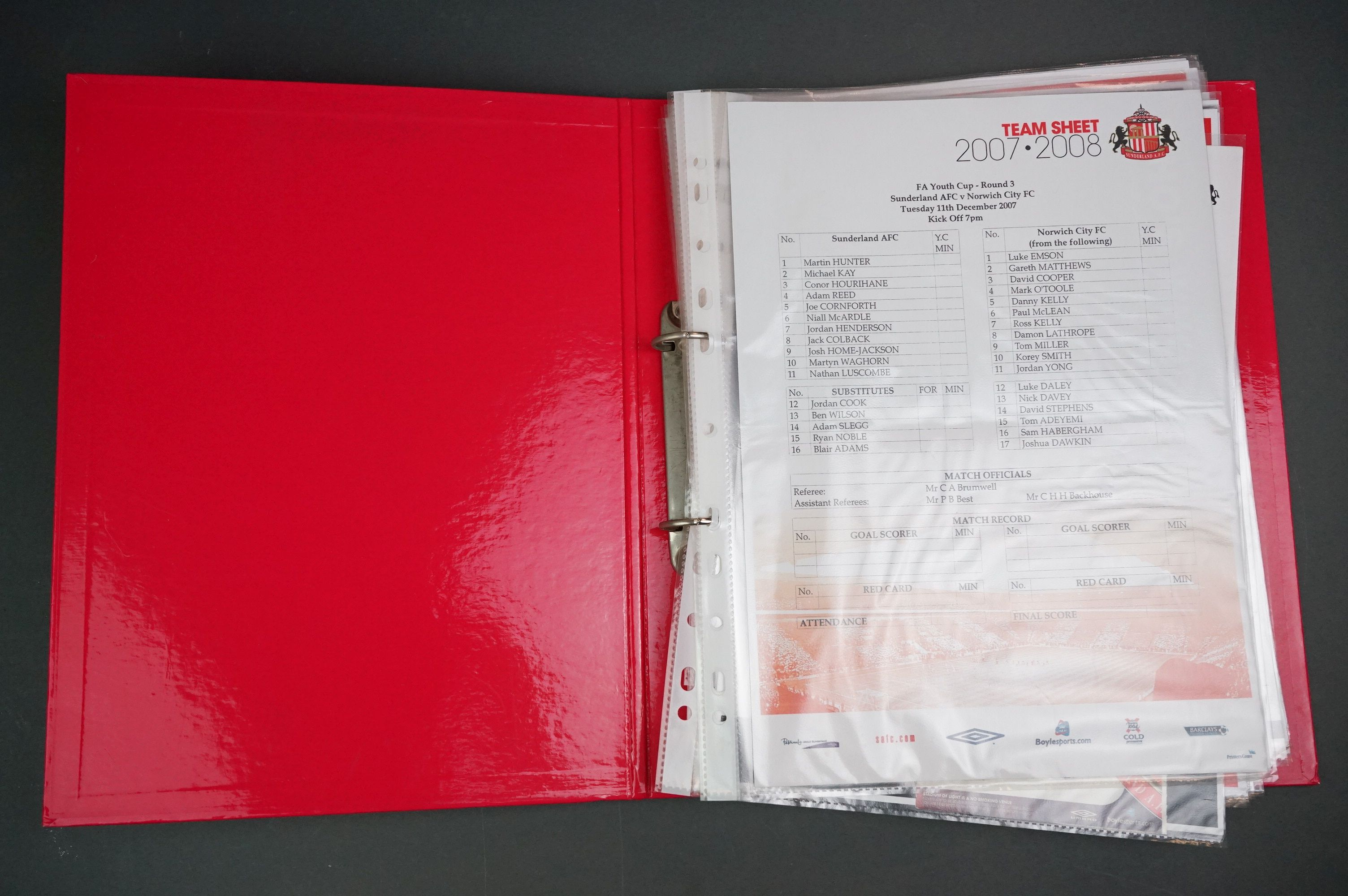 Football - FA Youth Cup 2007-11, a binder containing approx. 45 programmes, mostly single sheets,