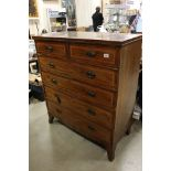 Early 19th century Mahogany Inlaid Chest of Two Short over Three Long Drawers, raised on swept